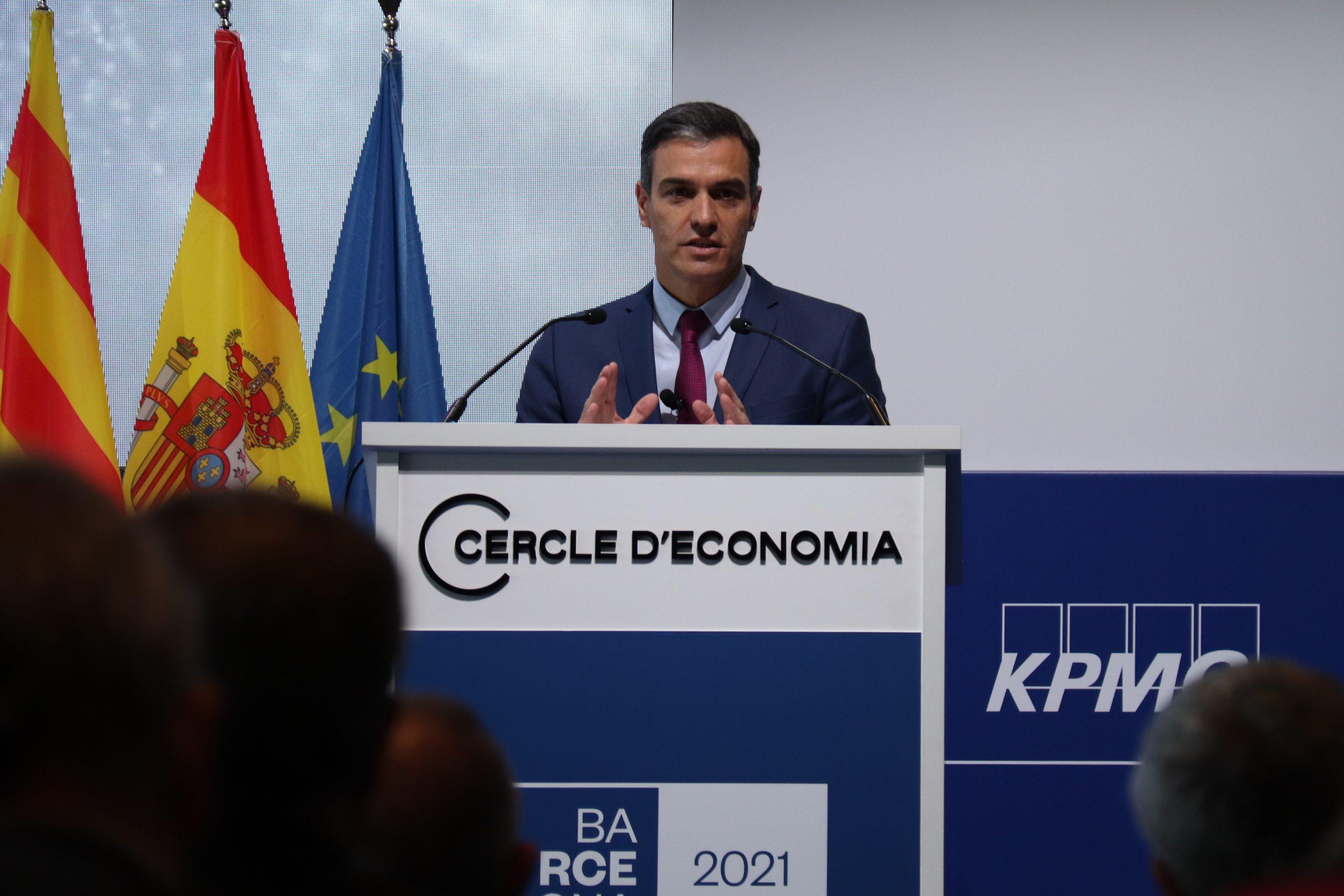 El govern espanyol, Pedro Sánchez, en una intervenció al Cercle d'Economia / ACN