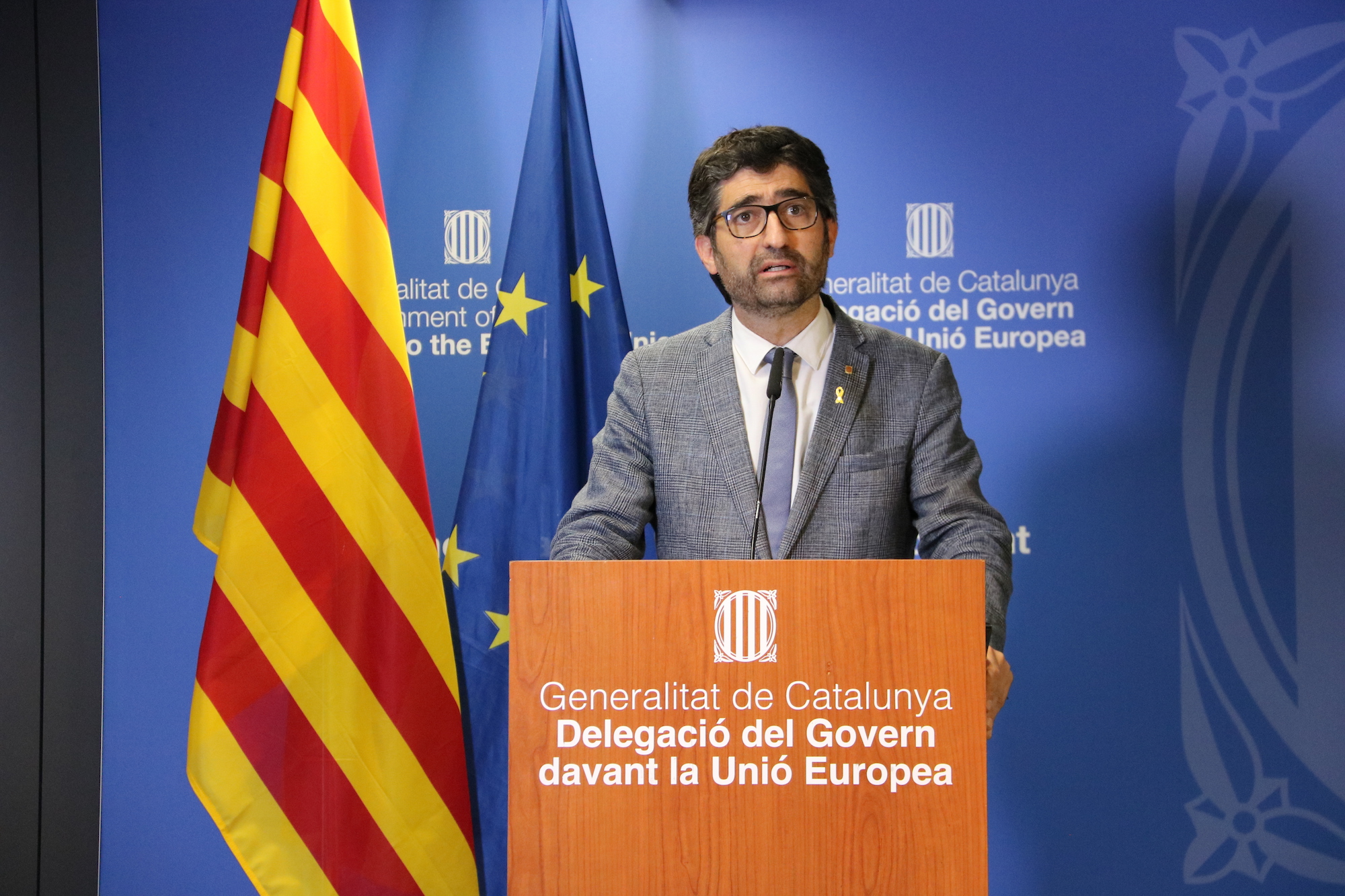 El vicepresident Jordi Puigneró durant la compareixença després de la votació de l'informe del Consell d'Europa el 21 de juny del 2021 / ACN