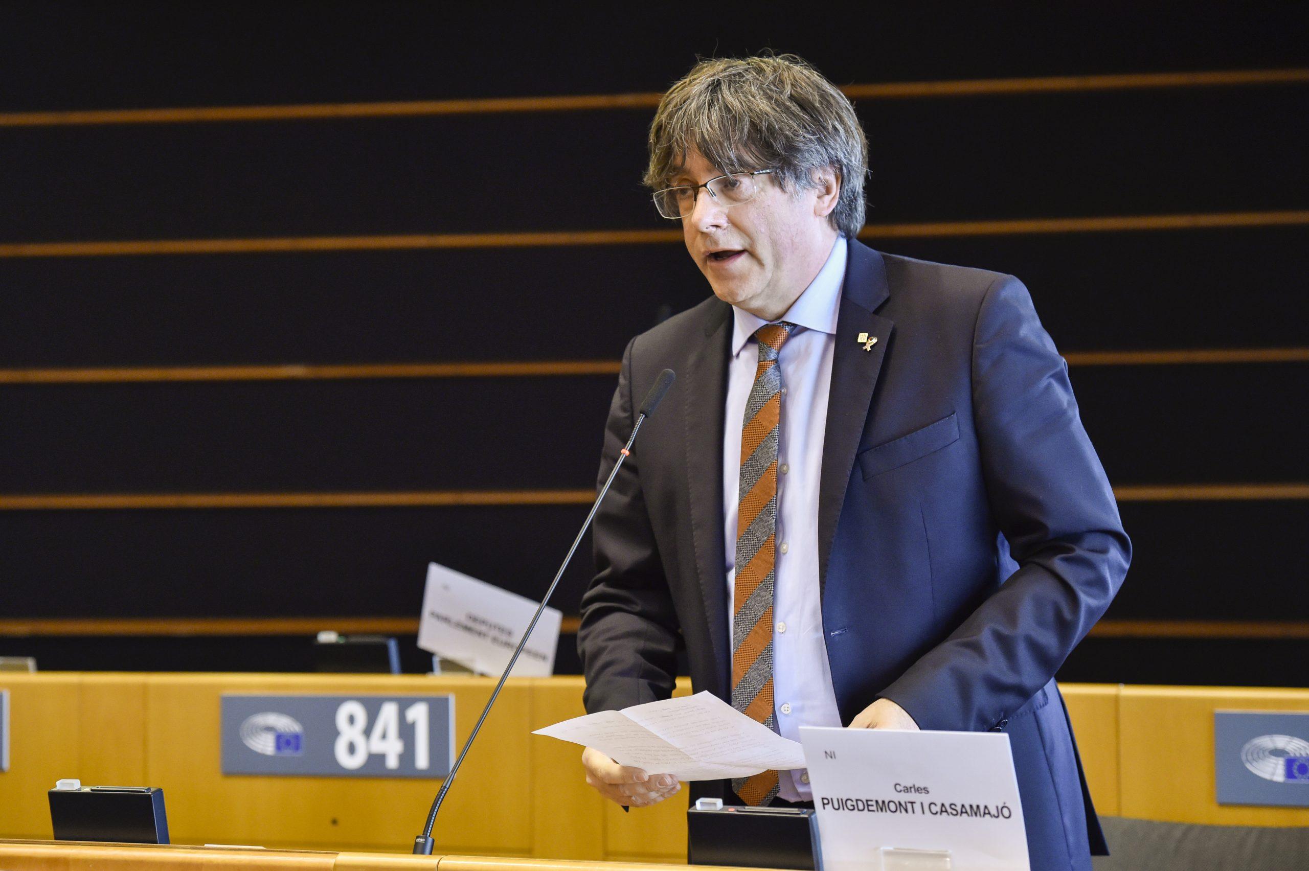 Carles Puigdemont durant una intervenció al Parlament Europeu / ACN