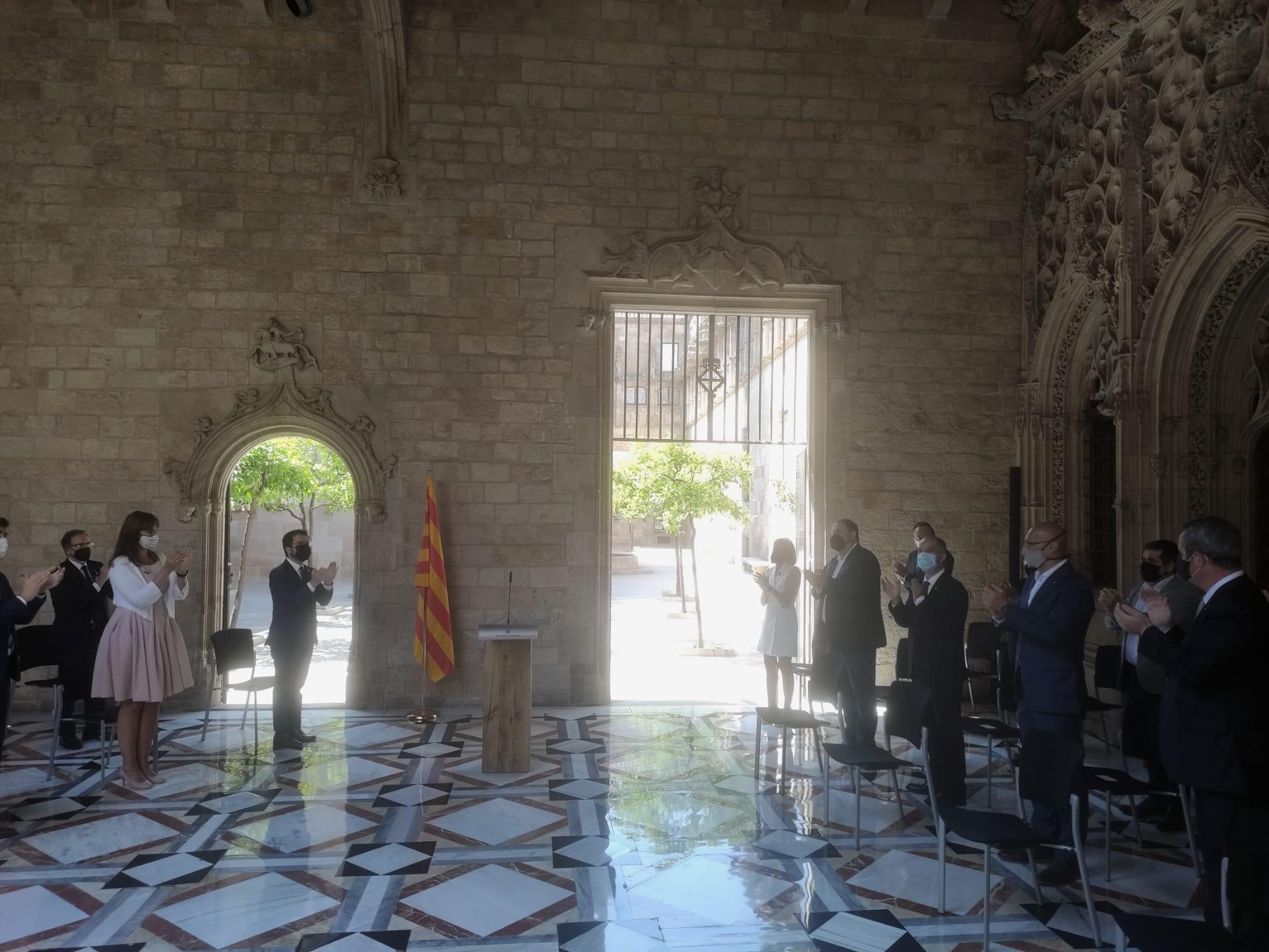 El Govern ha recibido este lunes a los indultados del 1-O en el Palau de la Generalitat EUROPA PRESS 28/6/2021