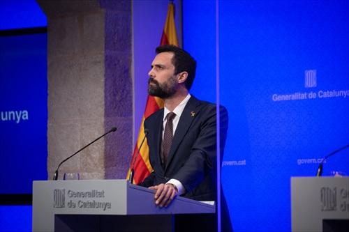 El conseller de Empresa i Treball de la Generalitat, Roger Torrent, durant una roda de premsa / Europa Press