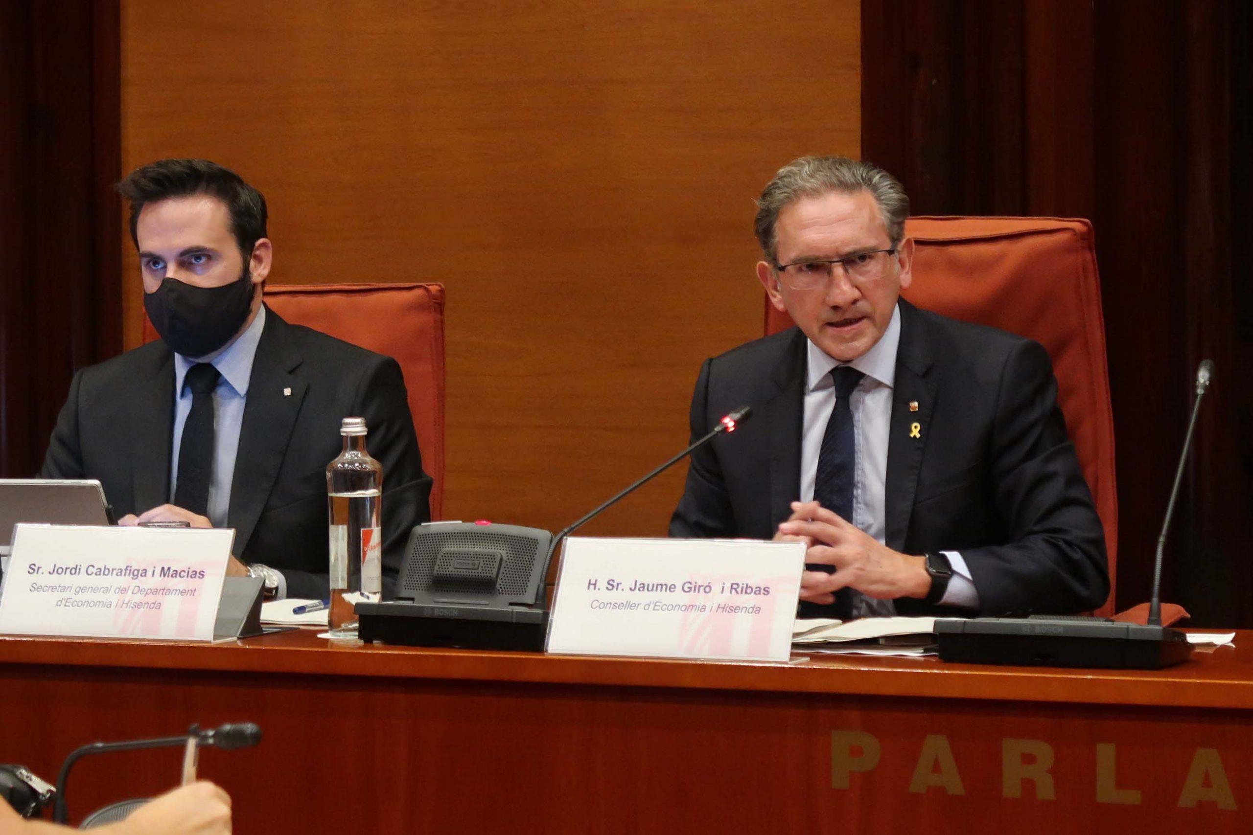 Jaume Giró i el seu secretari general, Jordi Cabrafiga al Parlament/AC