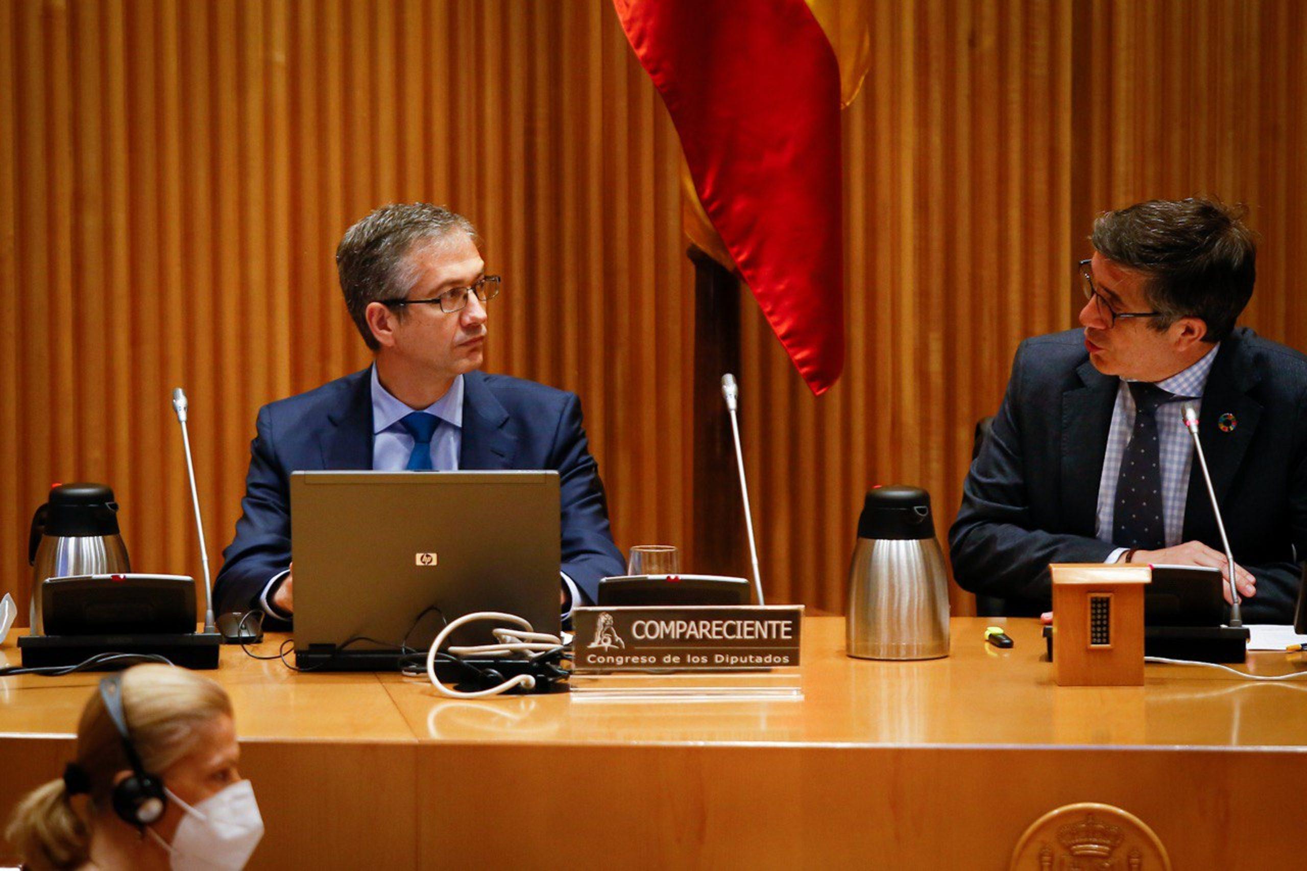 El governador del Banc d'Espanya, Pablo Hernández de Cos, a la Comissió per a la Reconstrucció al Congrés   ACN