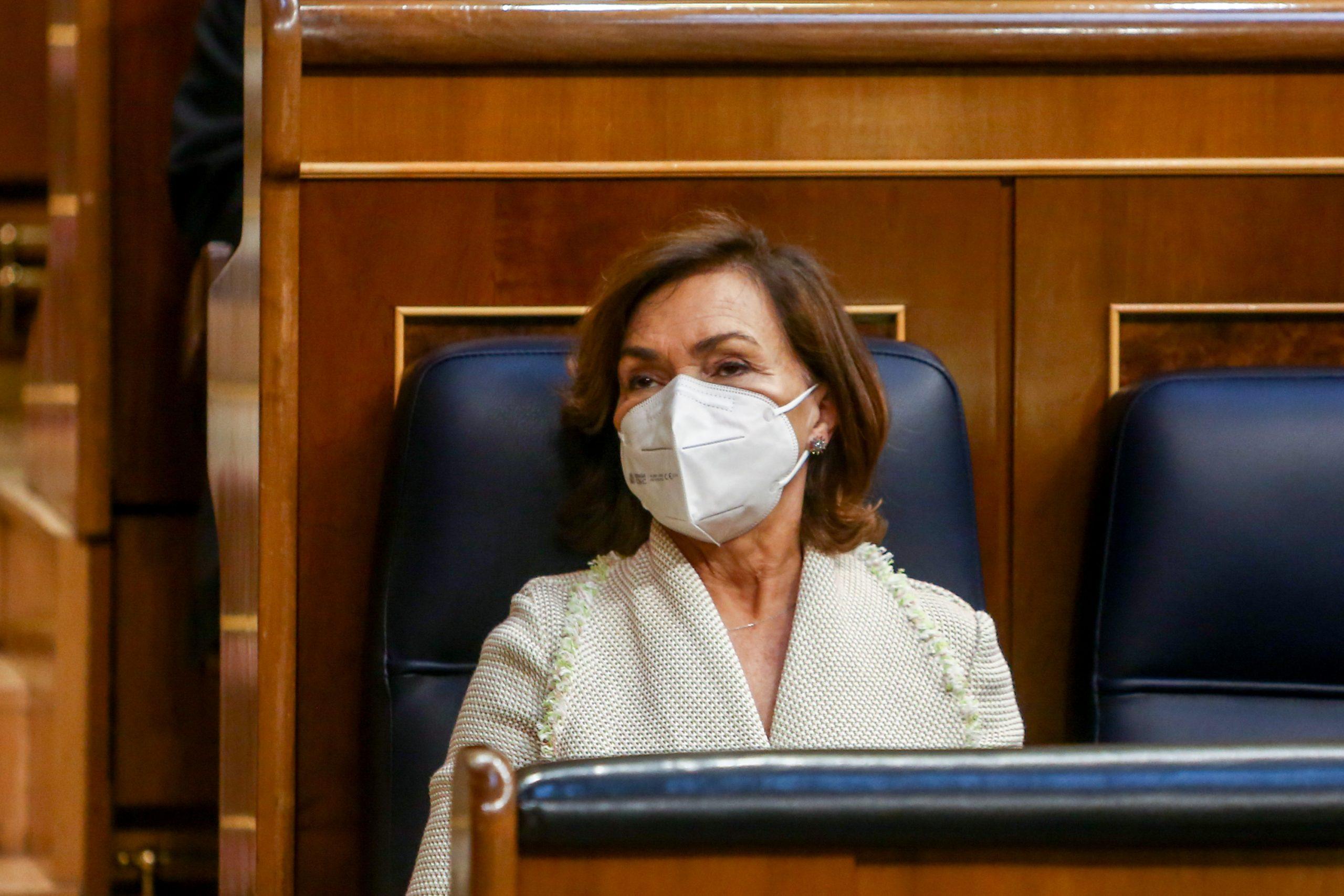 La vicepresidenta primera del govern d'espanya, Carmen Calvo, al Congrés dels Diputats / Europa Press