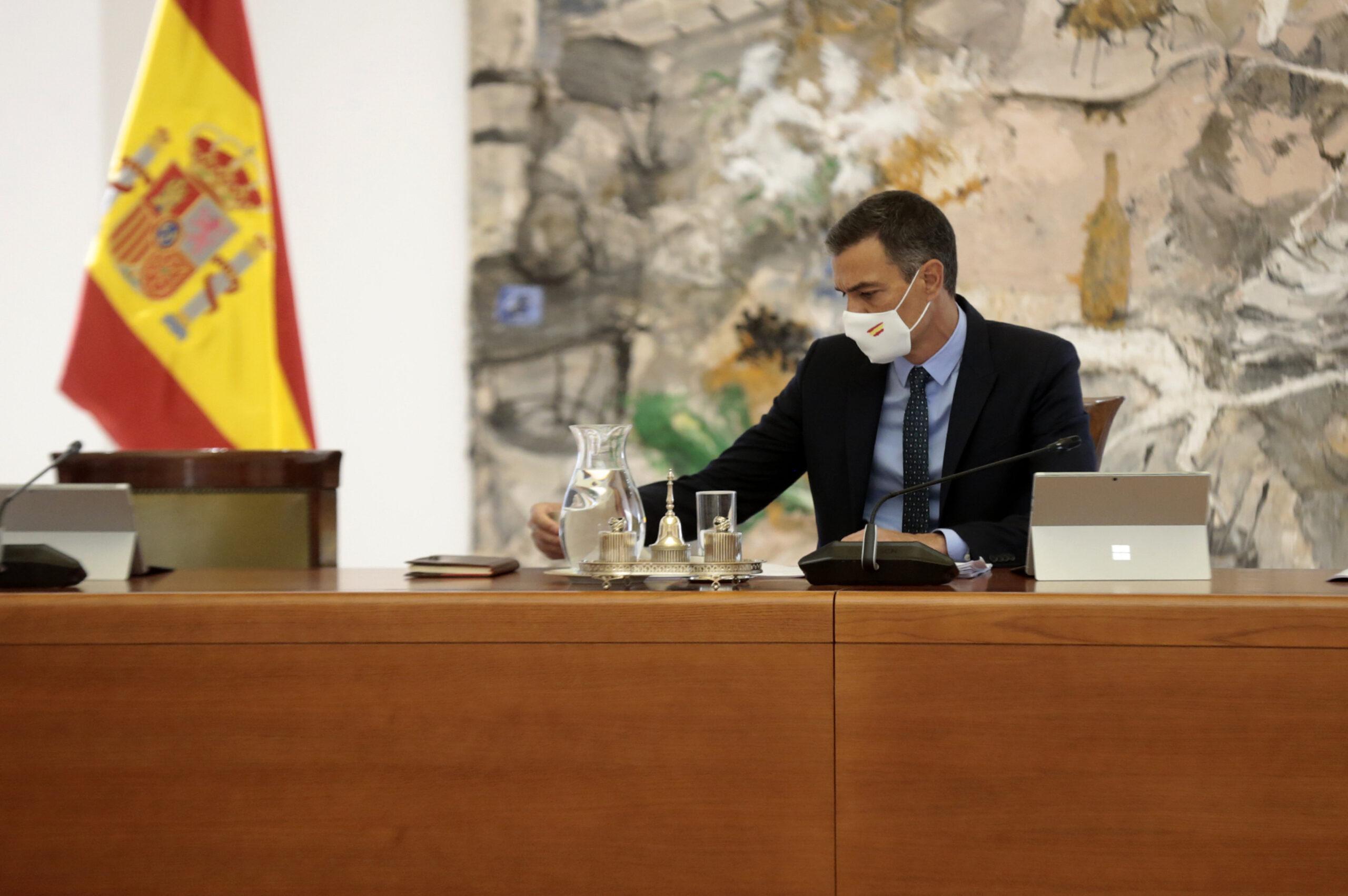 El president del govern espanyol, Pedro Sánchez, a la reunió del Consell de Ministres al Palau de la Moncloa, el 25 d'agost del 2020 (ACN)