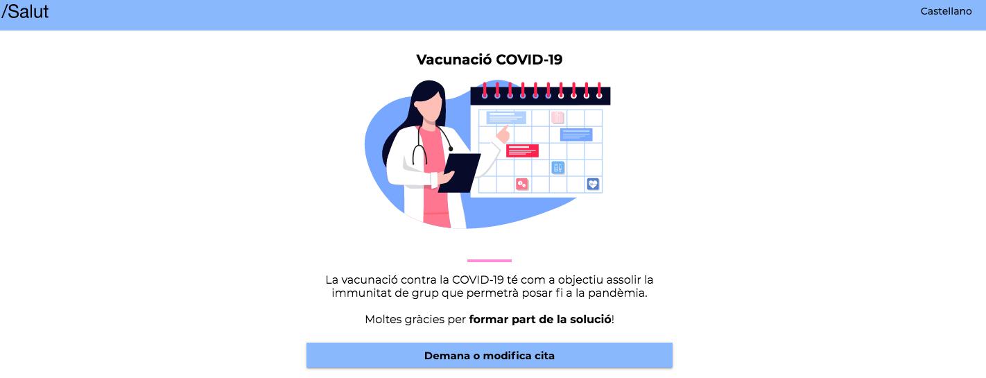 Captura del web de cites per vacunar-se