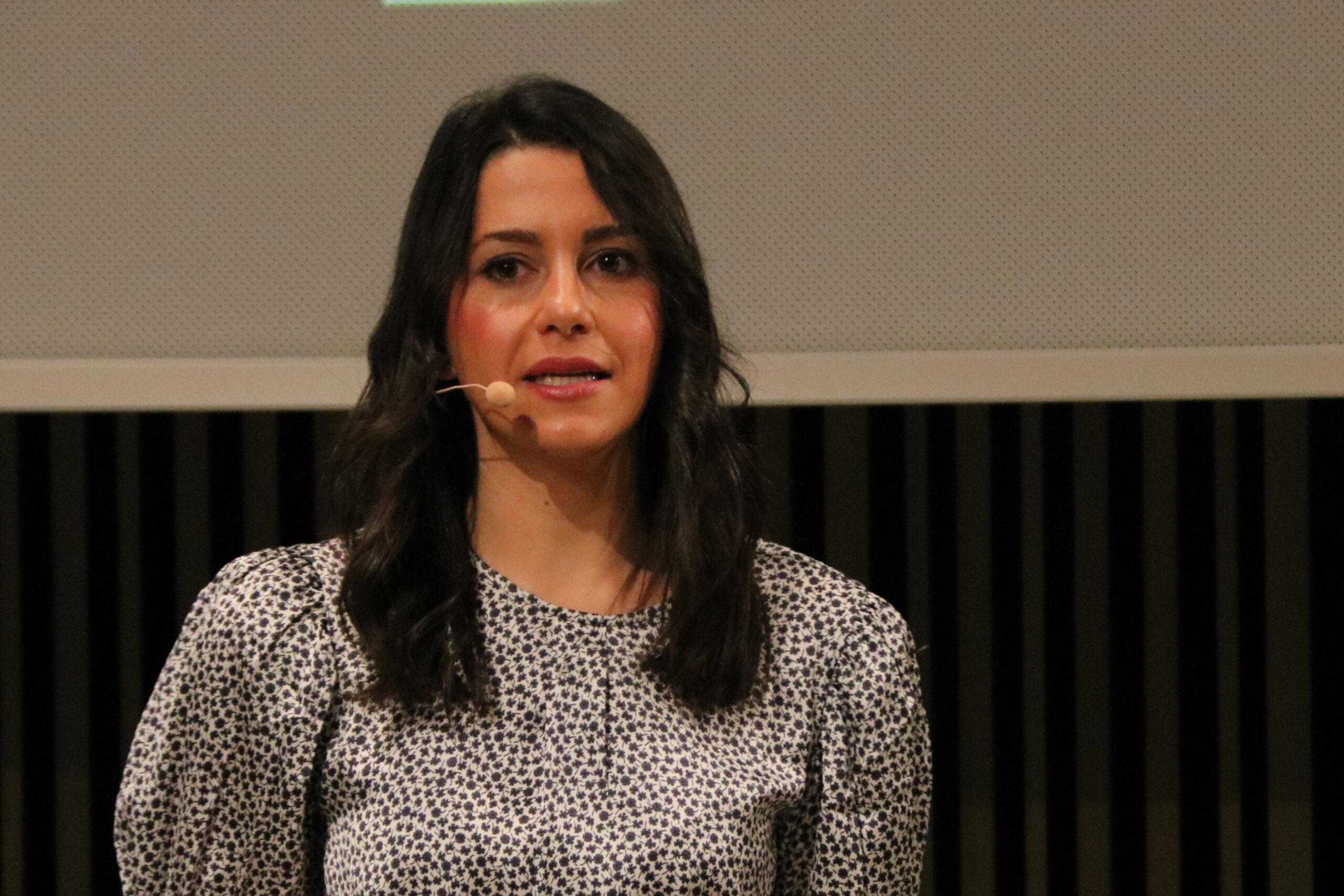 La presidenta de Cs, Inés Arrimadas, durant l'acte de celebració dels 15 anys del partit, el 10 de juliol del 2021 / ACN