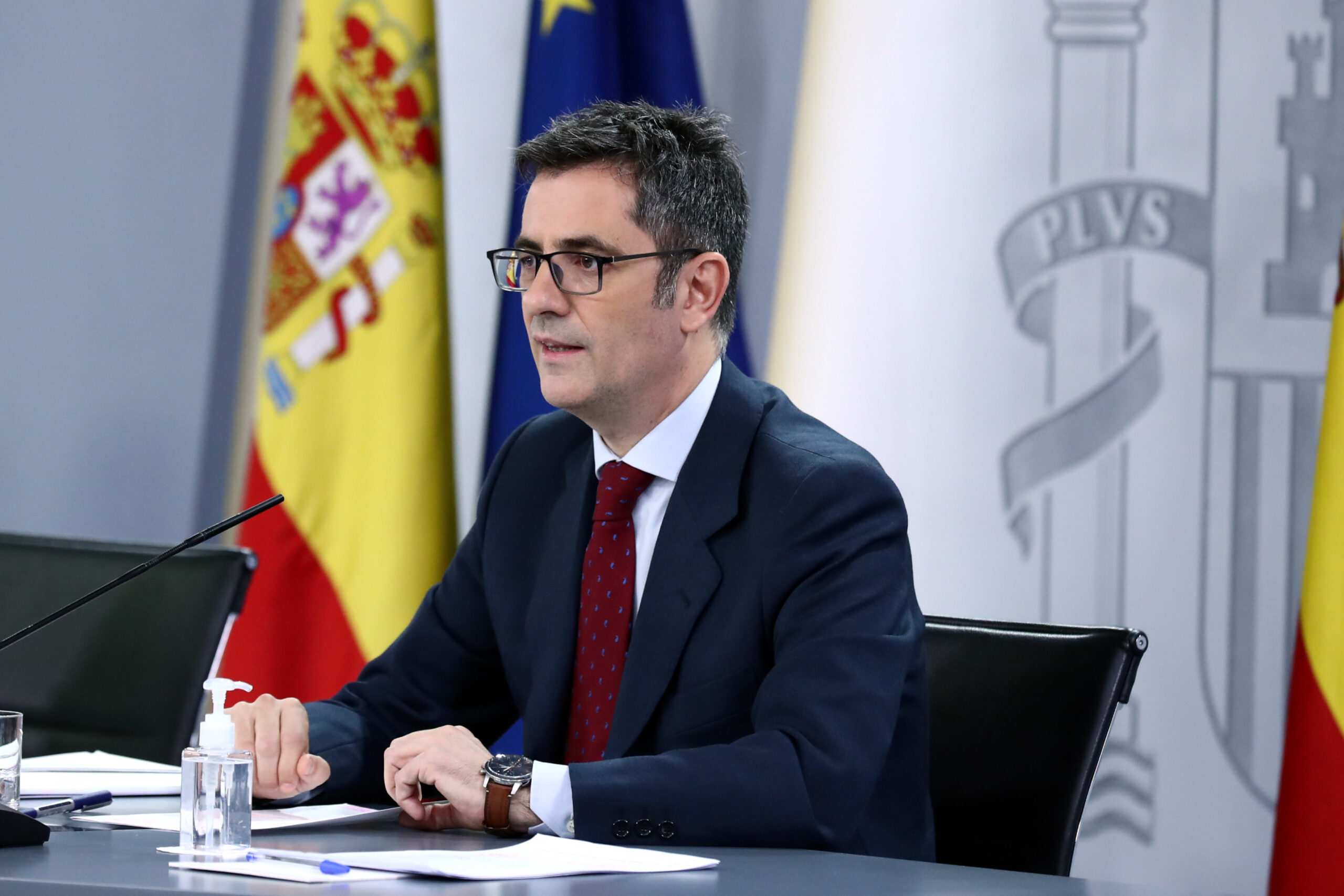 El ministre de Presidència, Félix Bolaños, durant la roda de premsa posterior al Consell de Ministres, el 20-07-21 / ACN