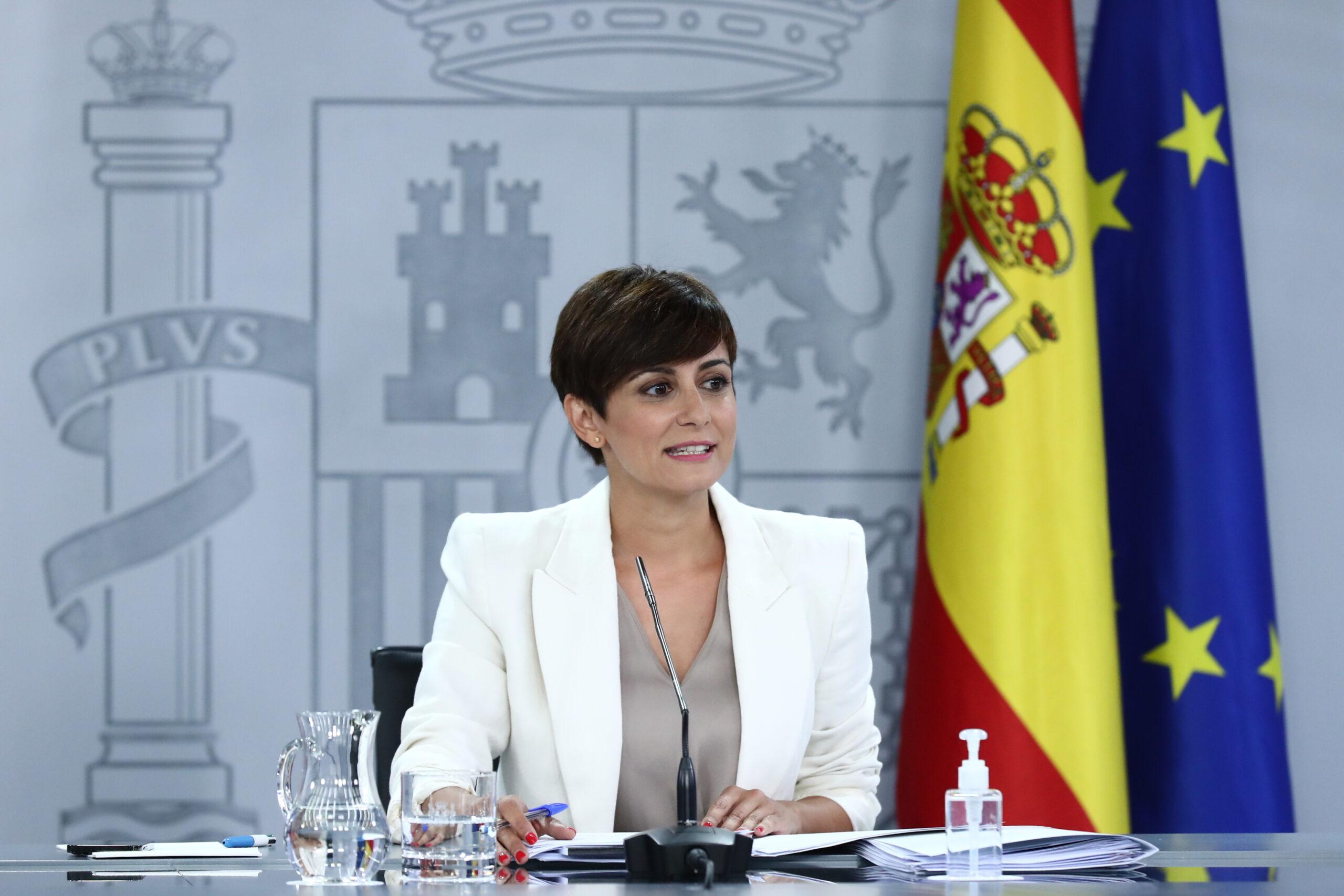 La portaveu del govern espanyol i ministra de Política Territorial, Isabel Rodríguez, a la roda de premsa posterior al Consell de Ministres / ACN