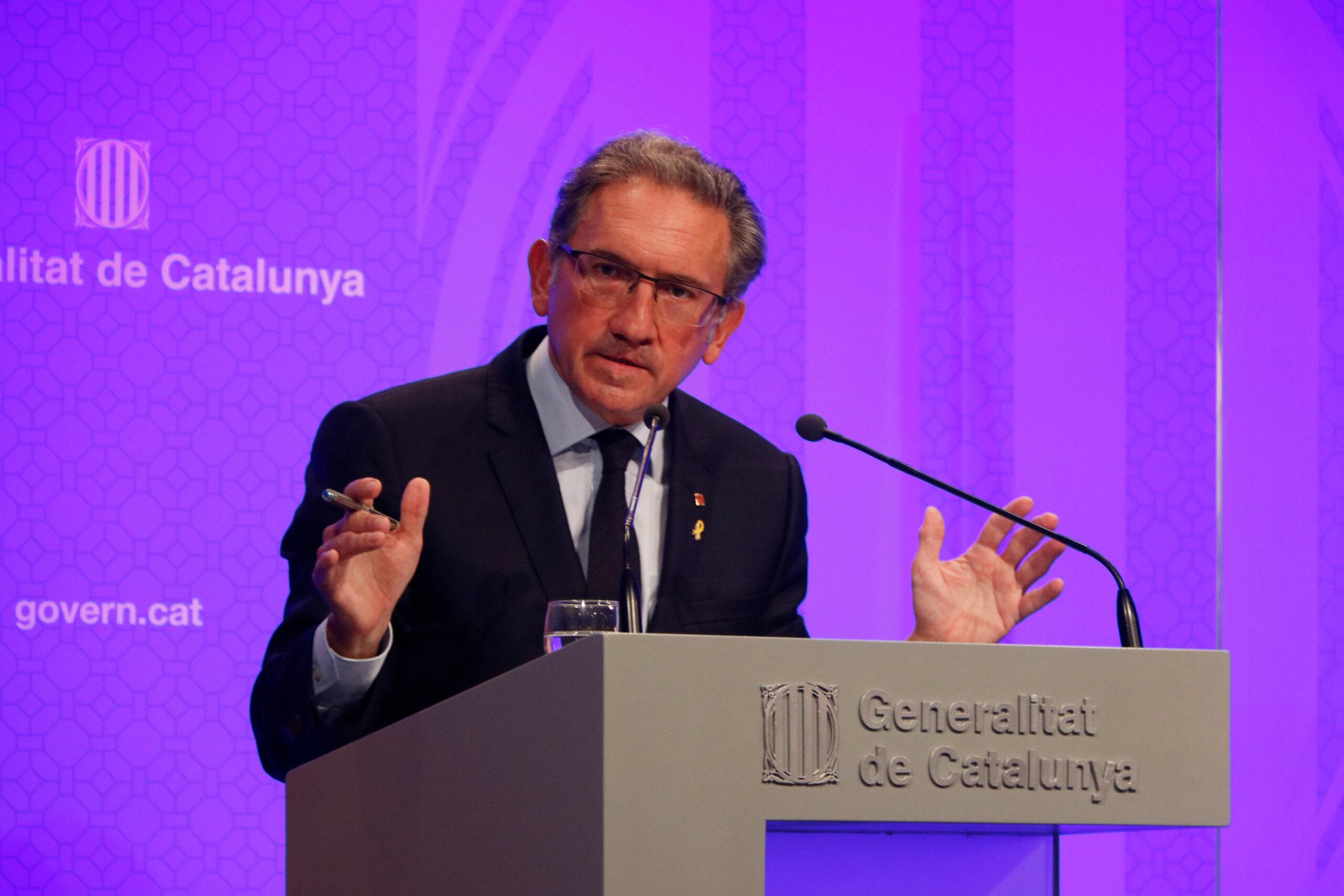 El conseller d'Economia i Hisenda, Jaume Giró, en roda de premsa posterior al Consell Executiu / ACN