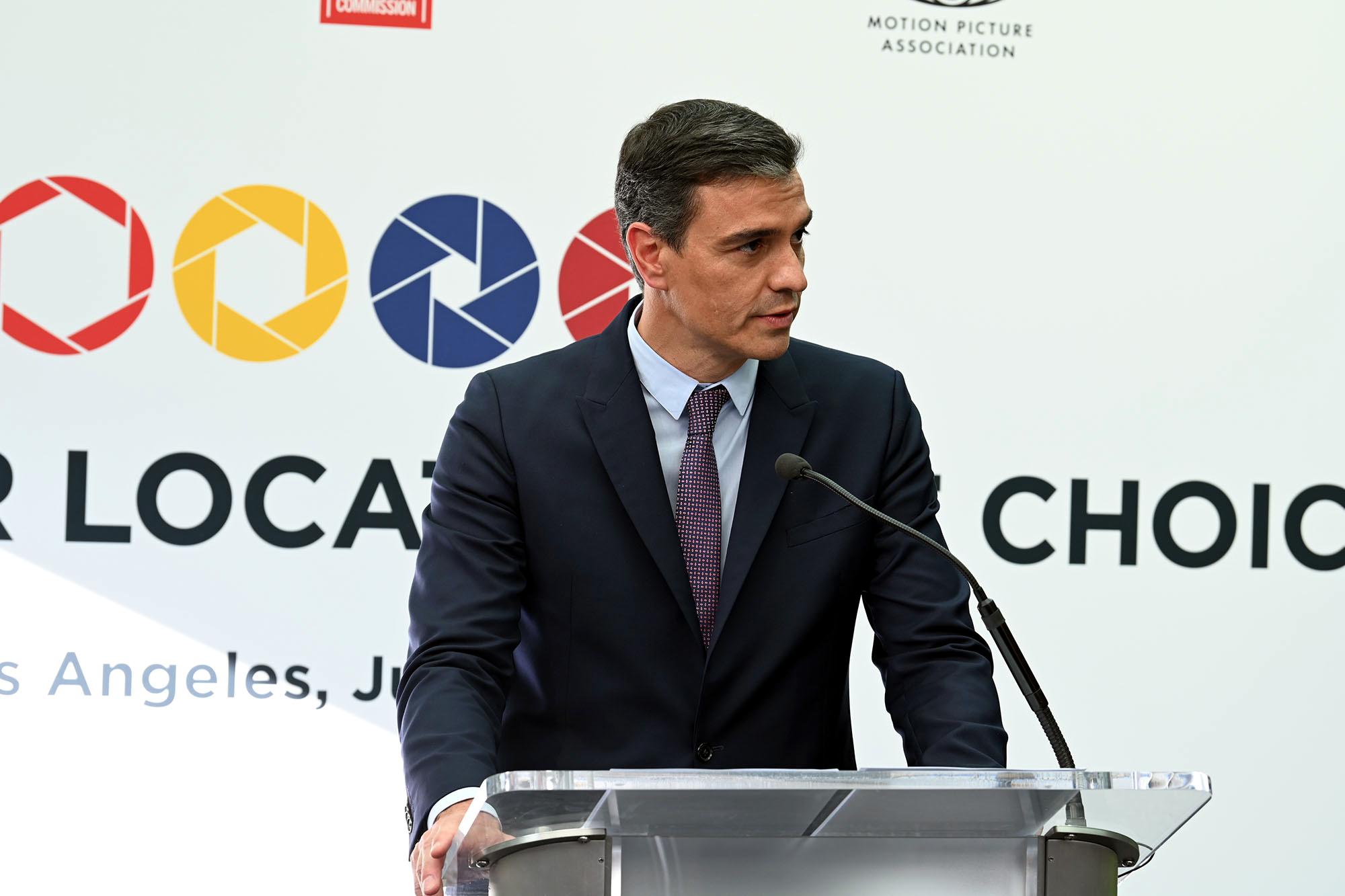 El president del govern espanyol, Pedro Sánchez, en un acte durant la seva gira de tres dies pels Estats Units, el 22 de juliol del 2021 (Horitzontal).