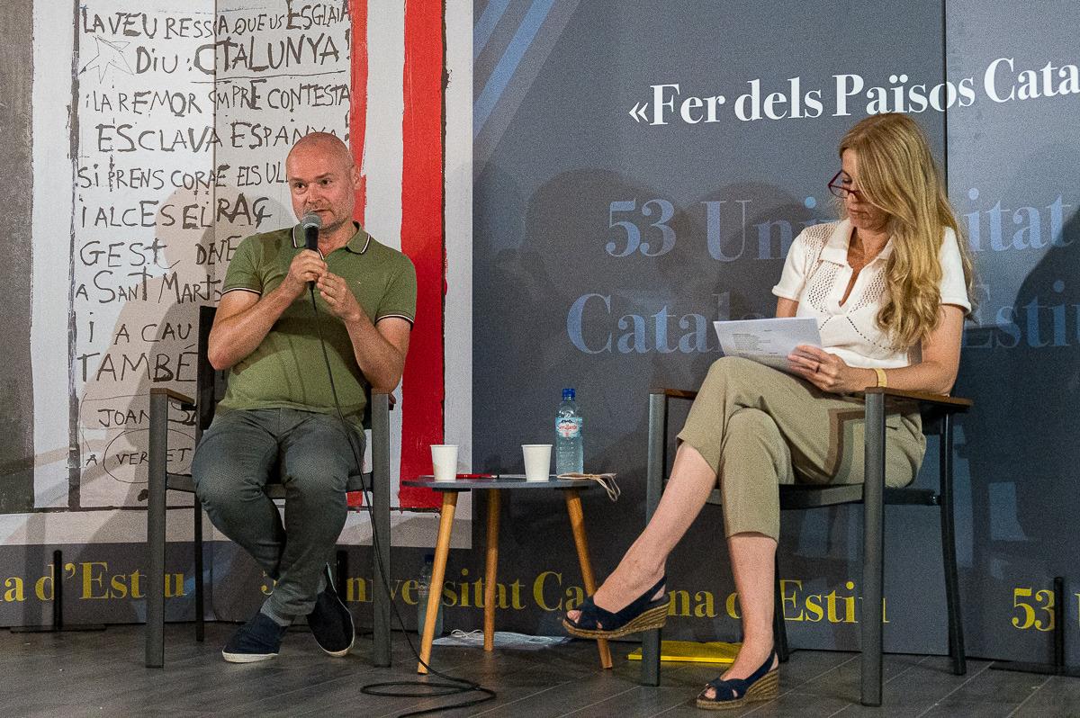 Christian Kollman i Anna Arqué, en un acte aquesta tarda a la UCE/Josep Maria Montaner