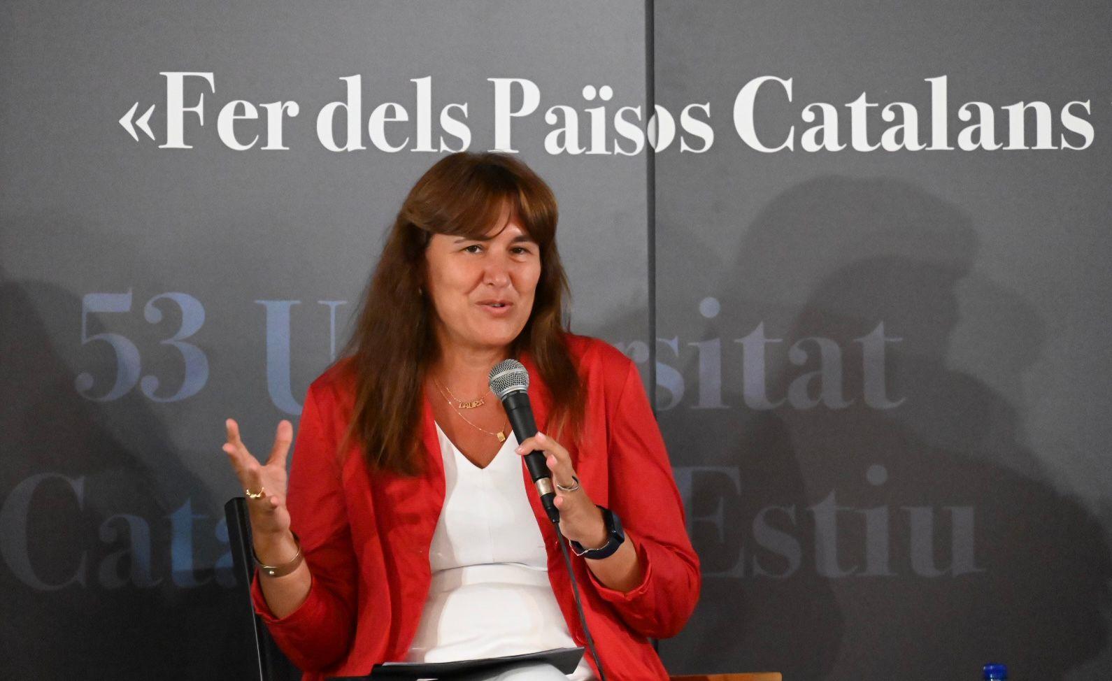 La presidenta Borràs, en un moment de la seva xerrada/Josep Maria Montaner