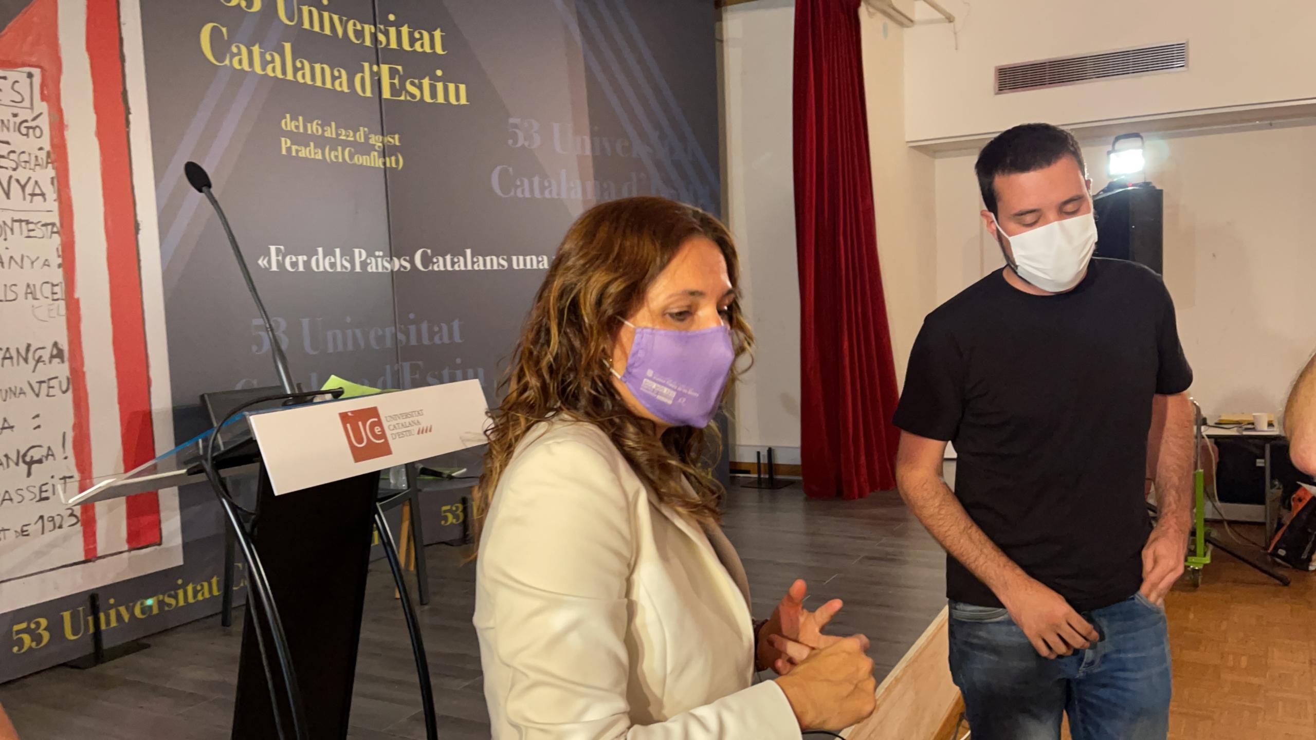 Laura Vilagrà, aquesta tarda a Prada, on ha explicat les contramesures que prepara el Govern per intentar reduir l'efecte de la resolució del TSJC/QS