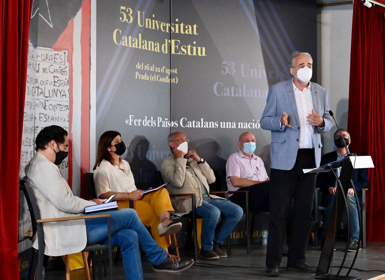Javier Lafuente, en un moment del debat a la UCE/Josep Maria Montaner