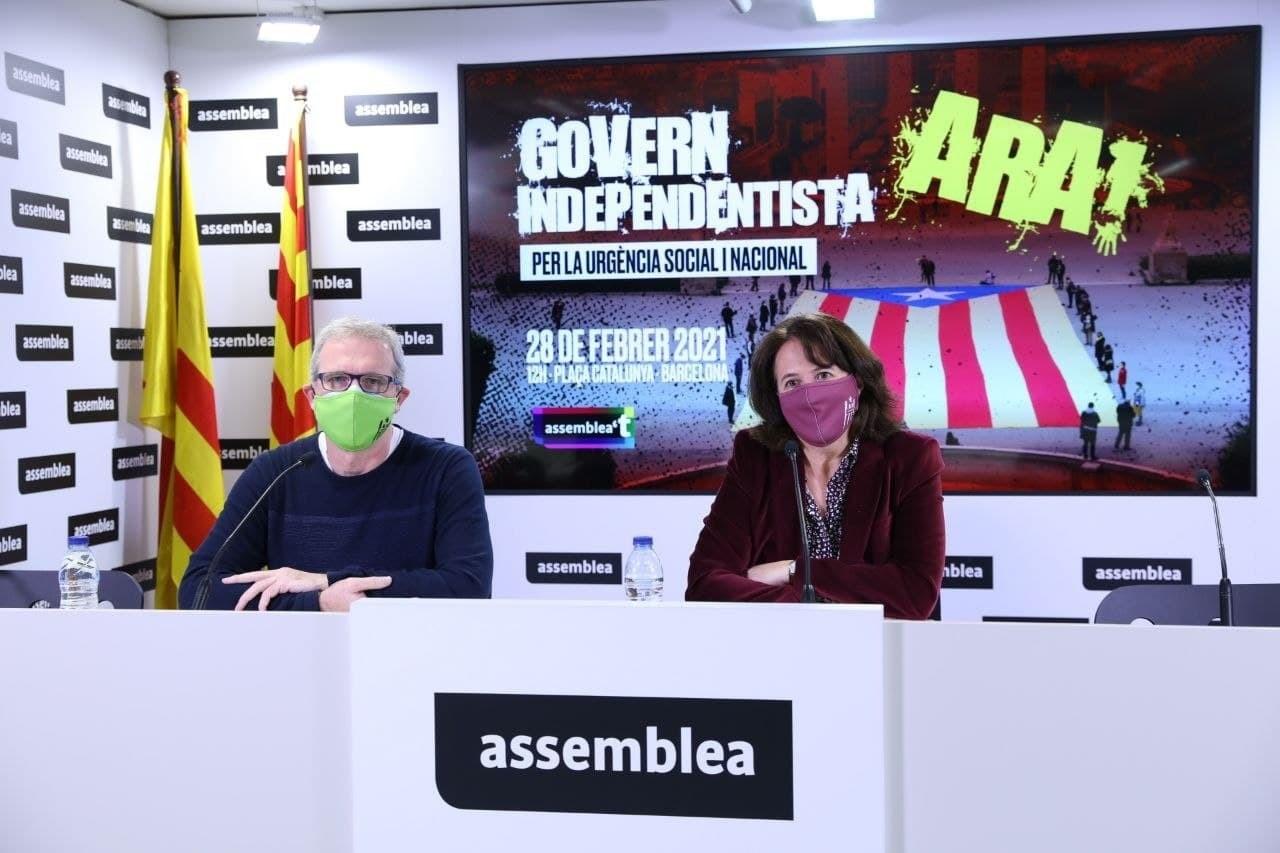 La presidenta de l'ANC, Elisenda Paluzie, i el vicepresident de l'entitat, David Fernàndez / Europa Press