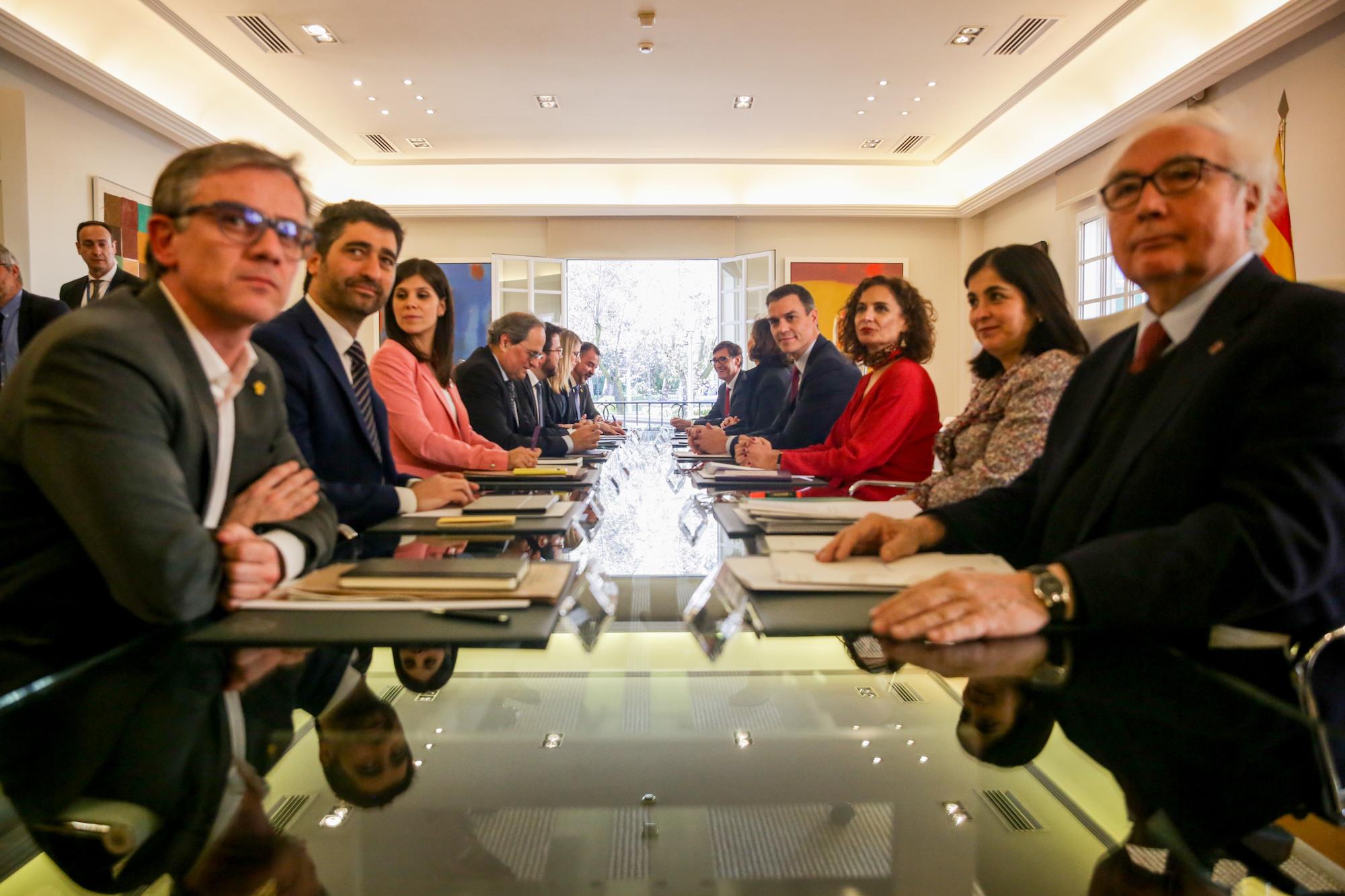 Primera reunió de la taula de diàleg encapçalada pel president del Govern, Pedro Sánchez; i el president de la Generalitat, Quim Torra / Europa Press