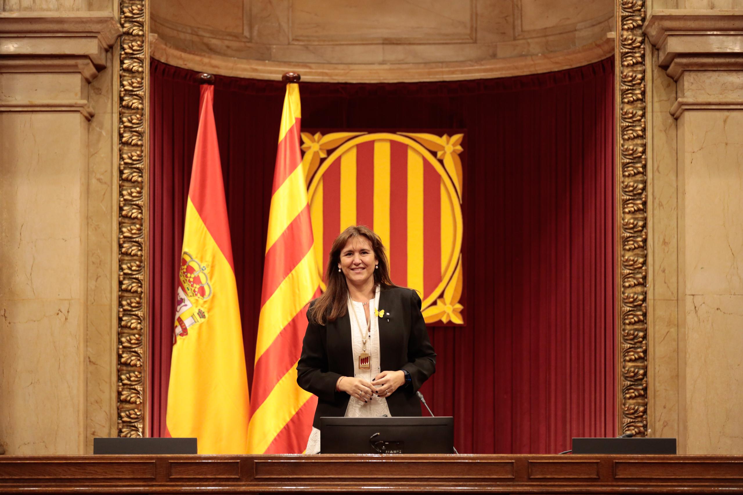 La presidenta del Parlament, Laura Borràs, a l'hemicicle de ñla cambra, després de la seva proclamació, el 12 de març de 2021 / ACN