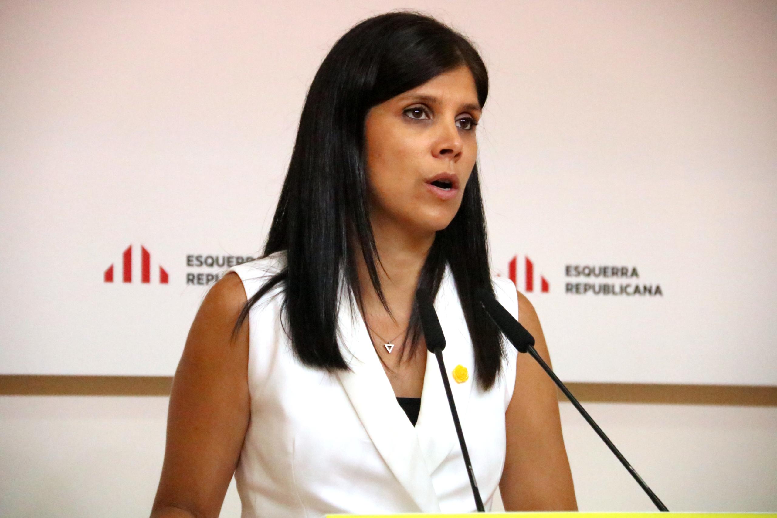 La portaveu d'ERC, Marta Vilalta, en roda de premsa a la seu del partit / ACN