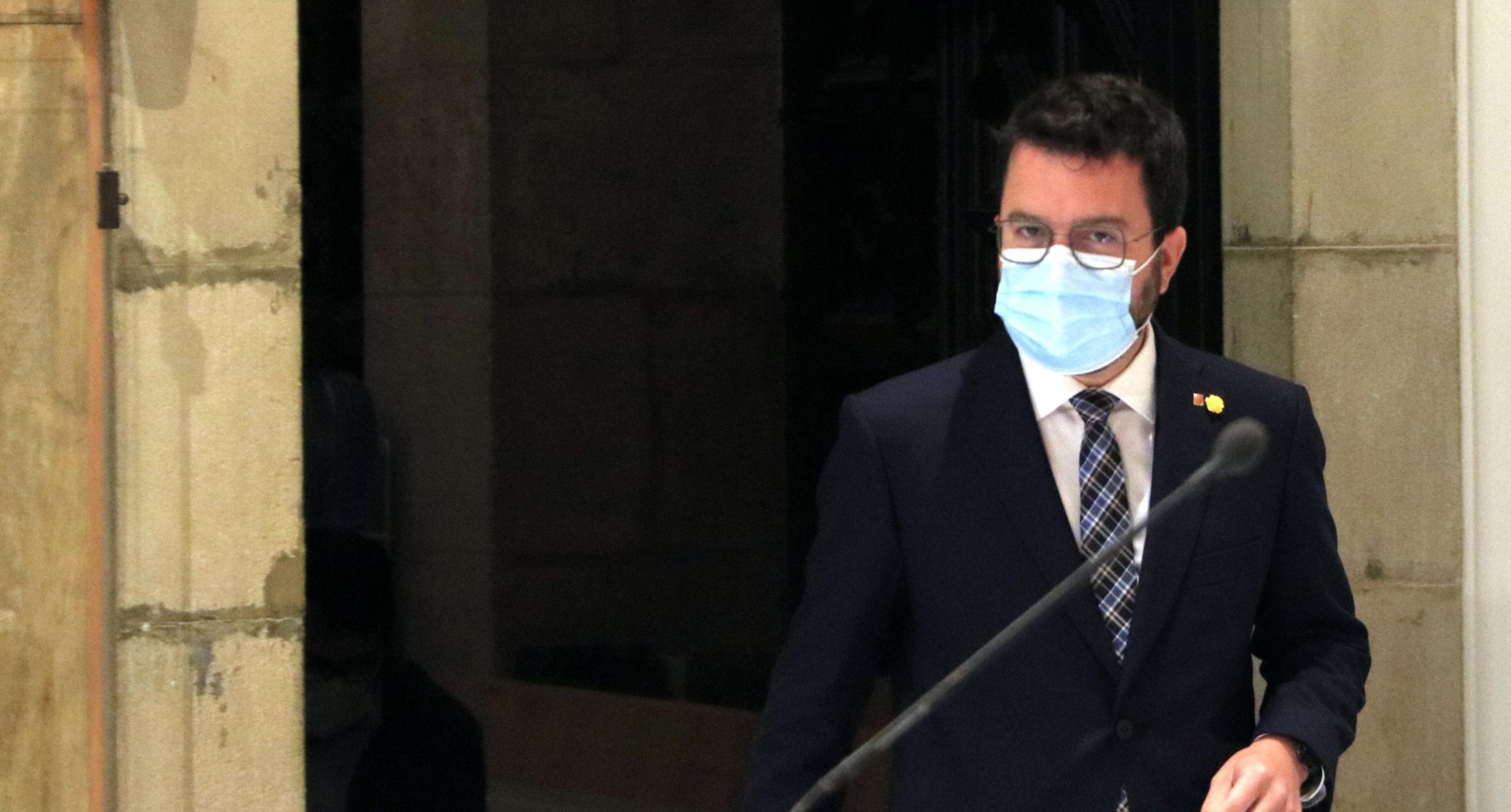 El president de la Generalitat, Pere Aragonès, abans de comparèixer en motiu del desacord sobre l'aeroport de Barcelona | ACN