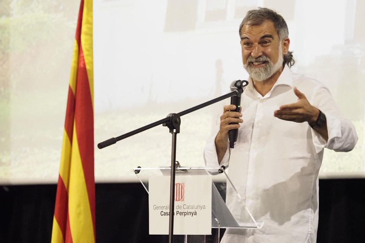 El president d'Òmnium Cultural, Jordi Cuixart, durant la seva intervenció a l'acte de la Diada a Prats de Molló / ACN
