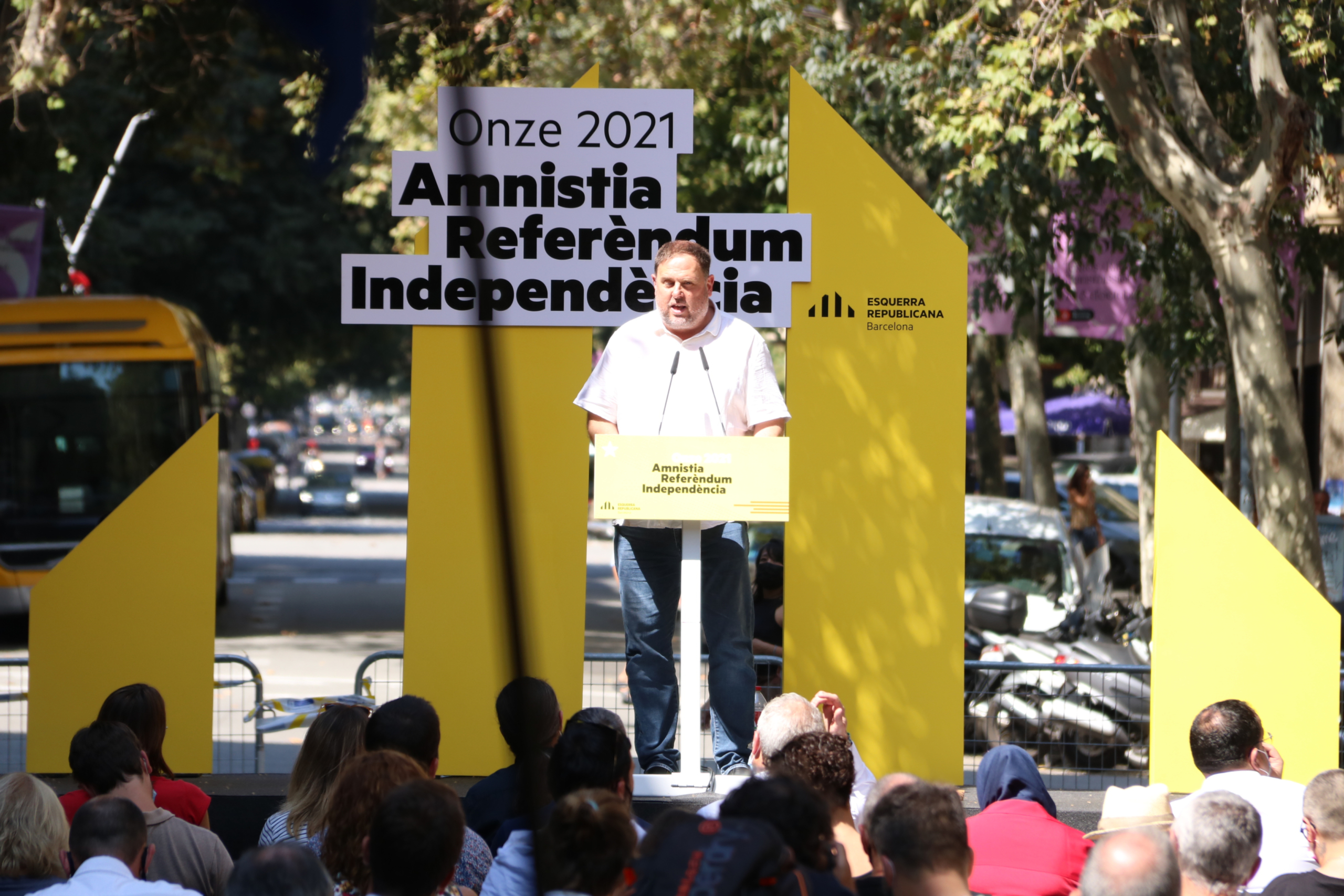 El president d'ERC, Oriol Junqueras, durant l'acte del partit a Barcelona en motiu de la Diada Nacional (ACN)