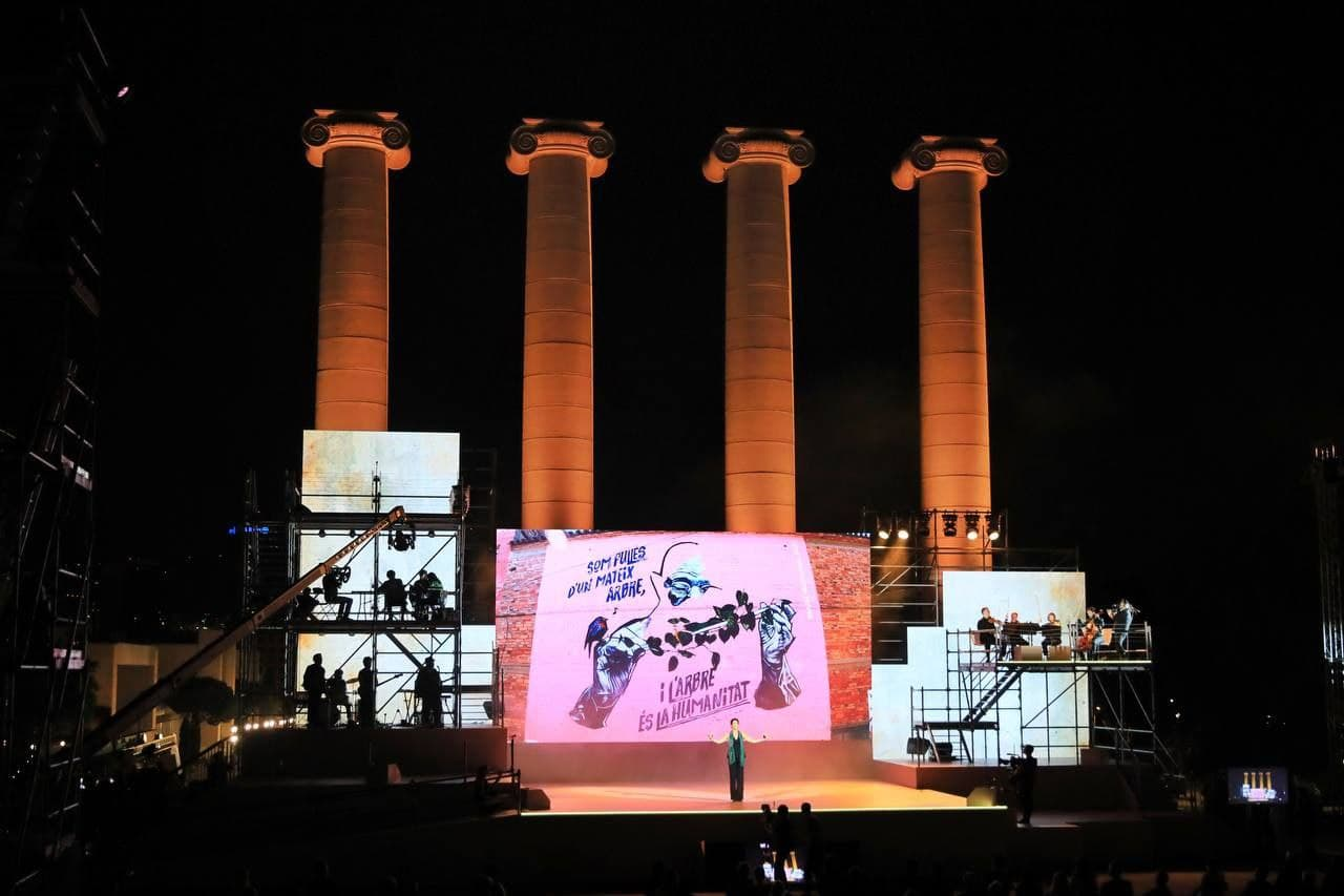 Les quatre torres de Cadalfach, a Montjuïc, escenari de l'acte institucional de la Diada. Barcelona, 11 de setembre del 2021 / ACN