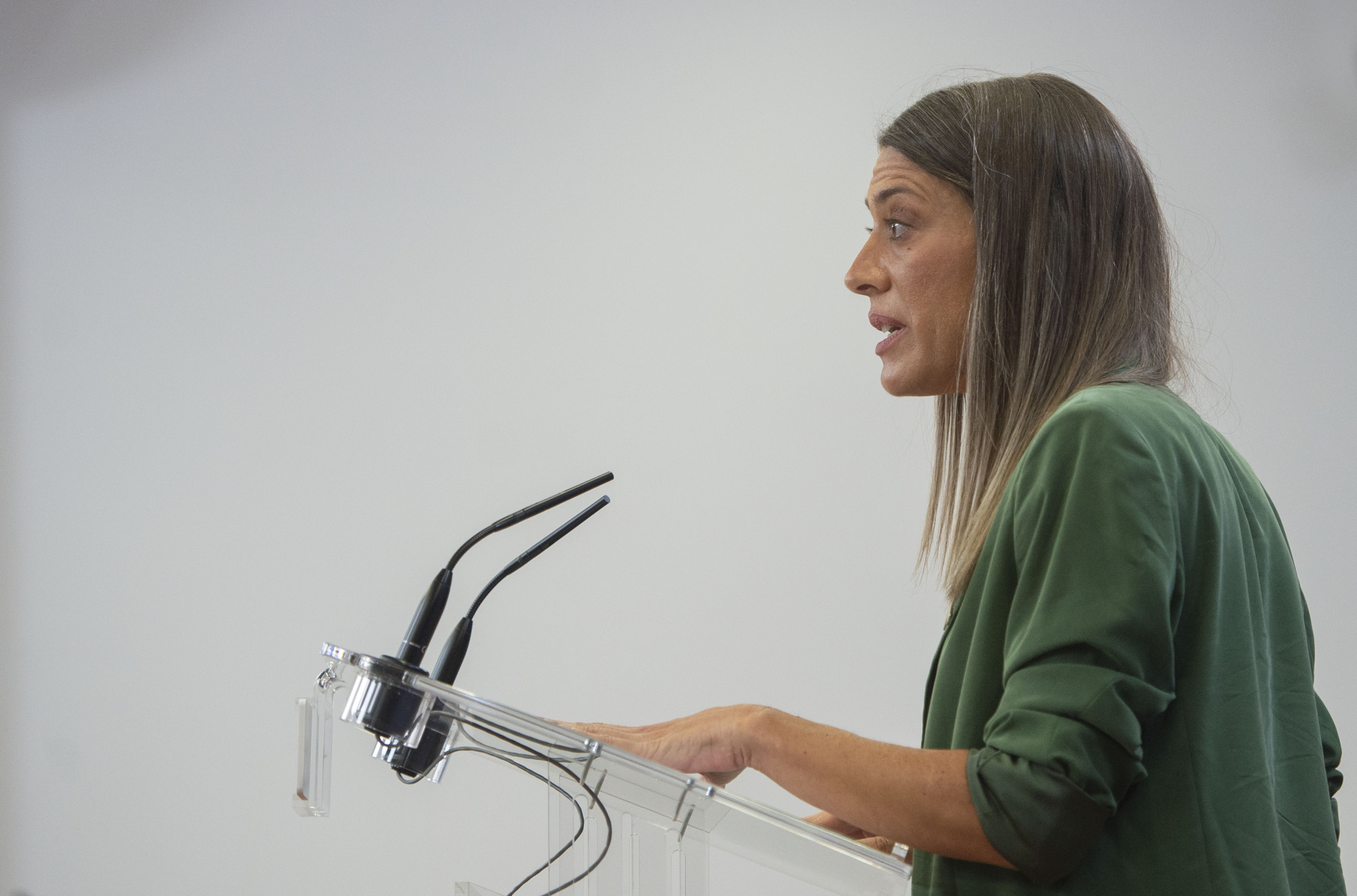 La portaveu de Junts per Catalunya, Miriam Nogueras, intervé en una roda de premsa de Portaveus / Europa Press
