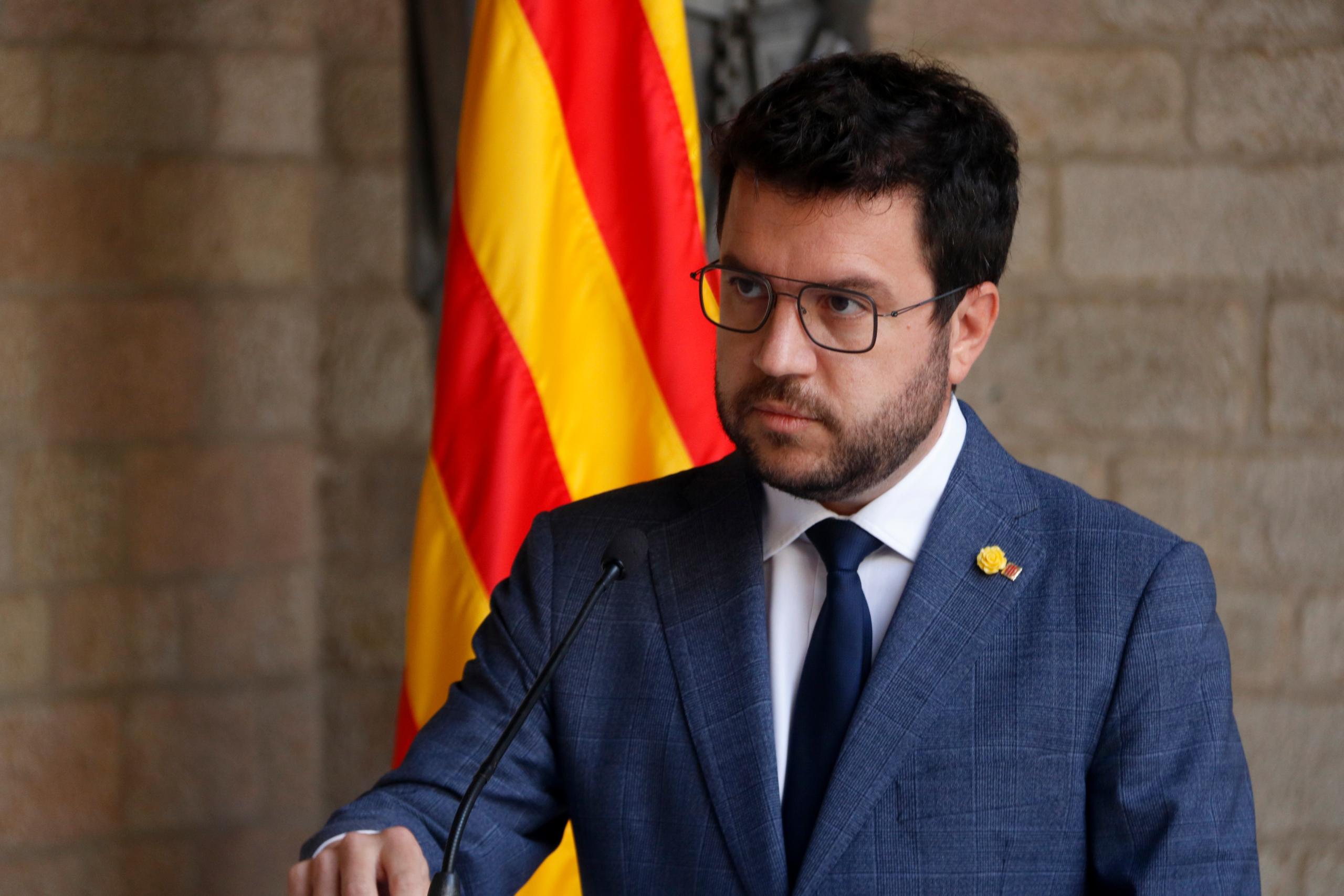 El president de la Generalitat, Pere Aragonès, anunciant que aparta Junts per Catalunya de la taula de diàleg | ACN