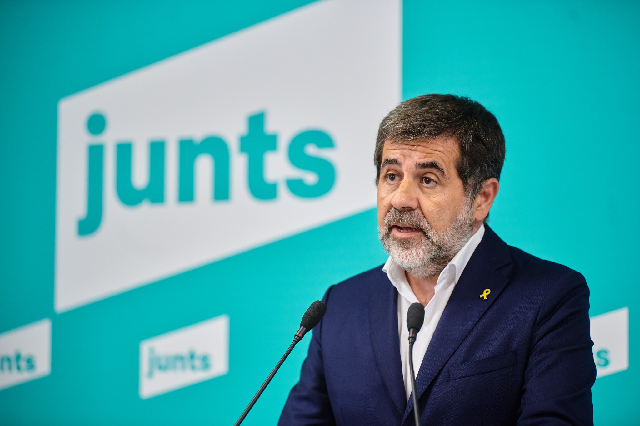 Jordi Sànchez durant la roda de premsa per denunciar