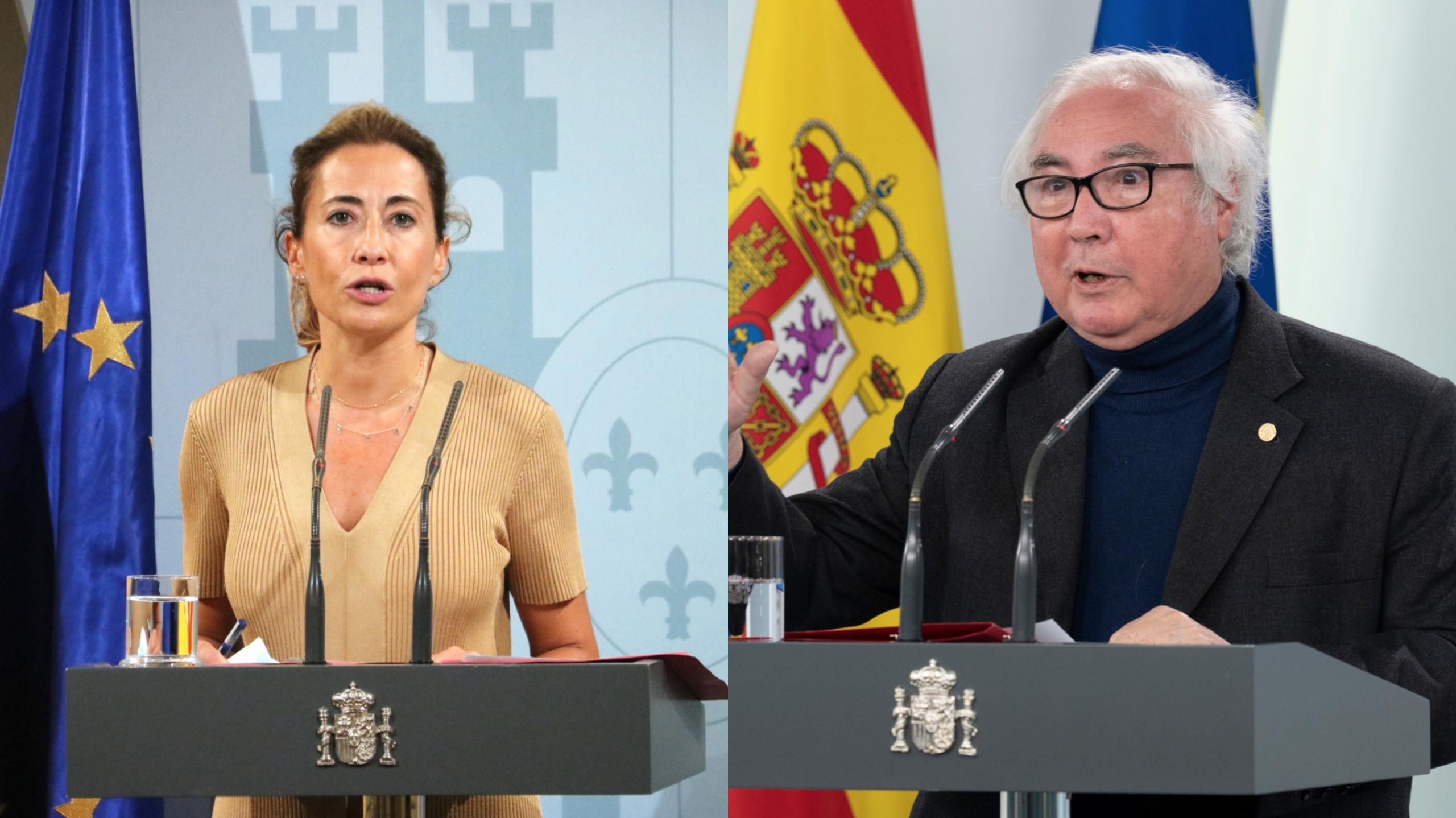 La ministra de Transports, Raquel Sánchez, i el d'Universitats, Manuel Castells, en un muntatge amb fotos de l'ACN