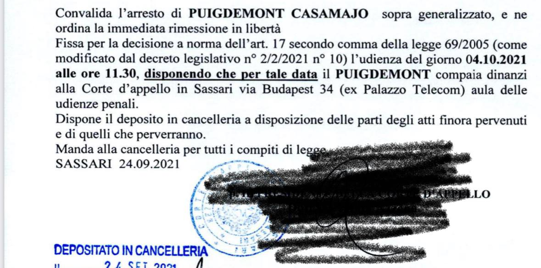 Providència de llibertat de Carles Puigdemont dictada pel jutge de Sàsser
