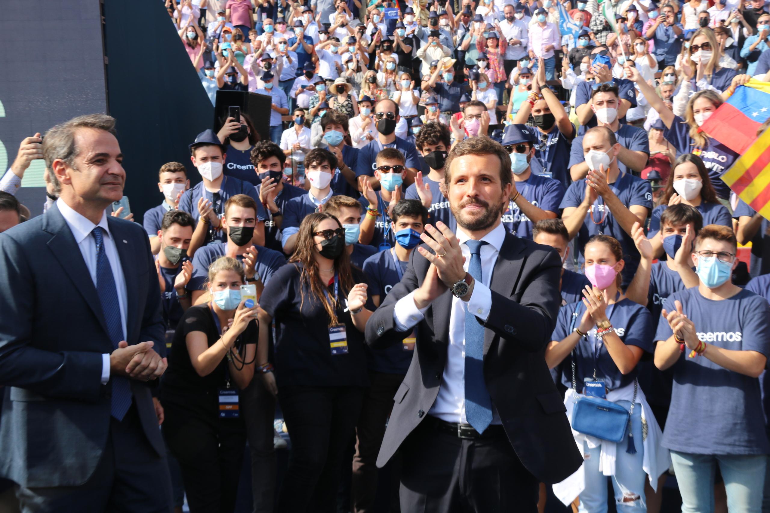 El líder del PP, Pablo Casado, a la clausura de la convenció política del partit la Plaça de Bous de València / ACN