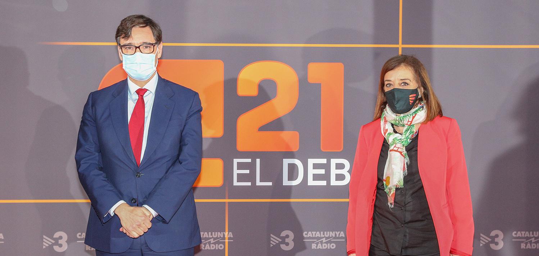 El candidat del PSC a la presidència de la Generalitat, Salvador Illa, a l'arribada a l'estudi de TV3 per celebrar el debat electoral del 14-F el 9 de febrer del 2021 / ACN