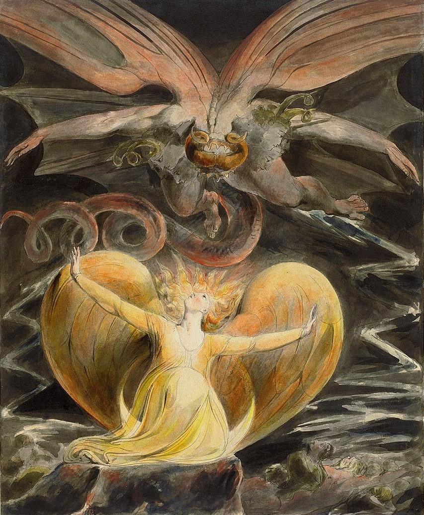 El gran drac vermell i la dona vestida de sol, de William Blake. Foto: Wikimedia Commons