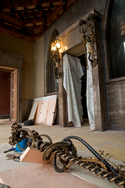 Obres de restauració del Palau Gúell. Foto: Quim Boix / Diputació de Barcelona