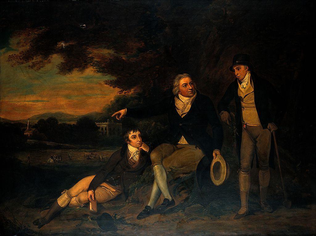 Edward Jenner recomanant a un camperol la vacunació de la seva família, cap al 1910, pintura d'autor desconegut.