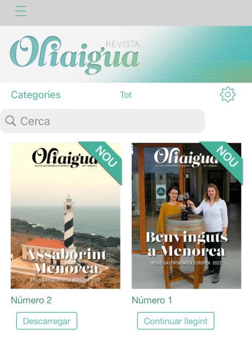 La revista menorquina 'Oliaigua' s'edita en format digital | captura