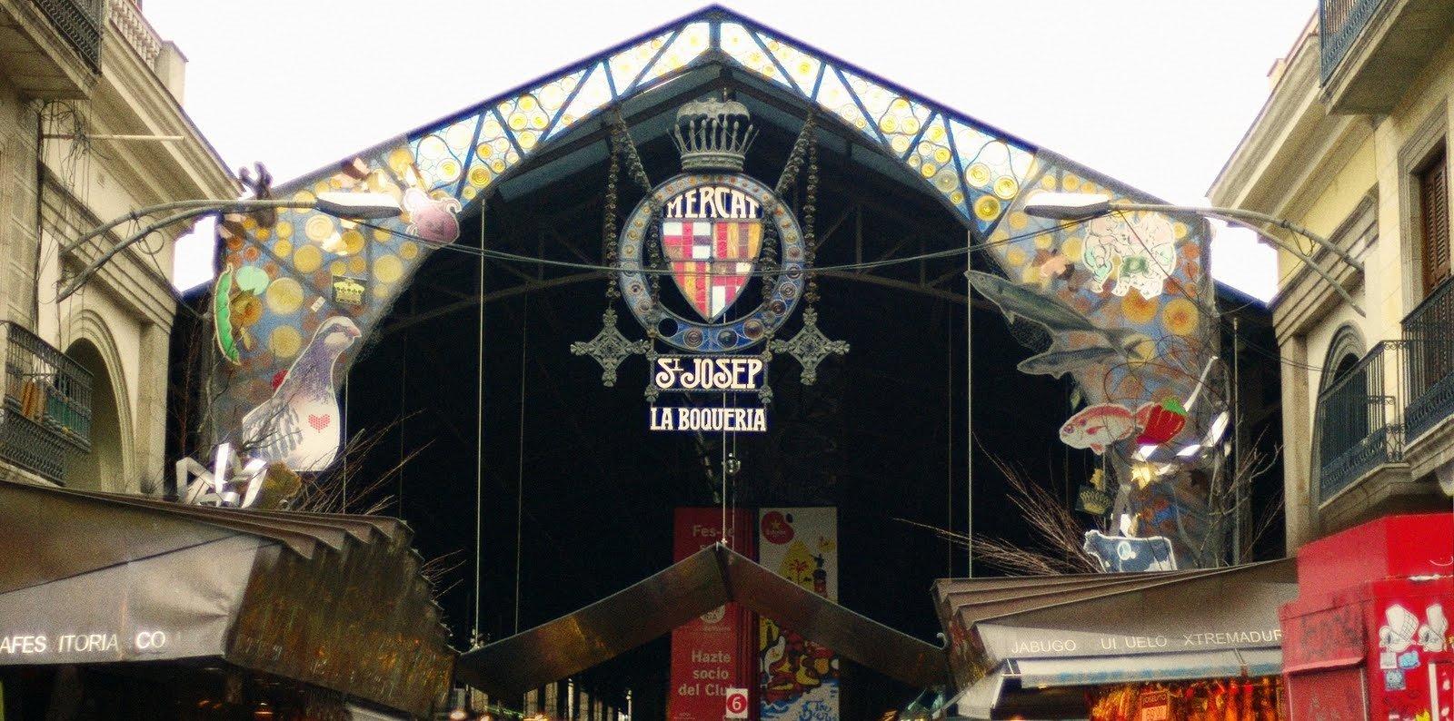 Entrada principal al Mercat de la Boqueria de Barcelona