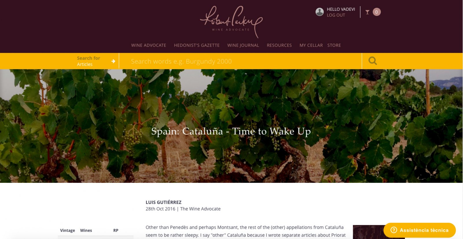 L'article de Luis Gutiérrez a Wine Advocate
