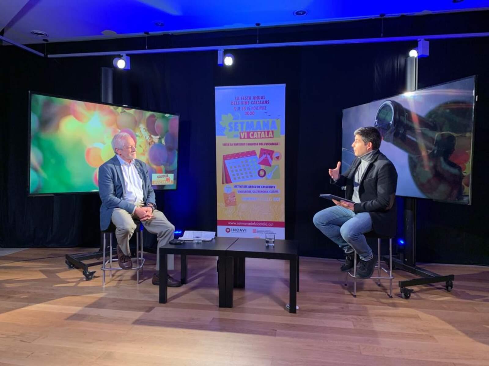 El director general de l'Incavi Salvador Puig en un moment d'una entrevista a la Setmana del Vi TV |M.R.