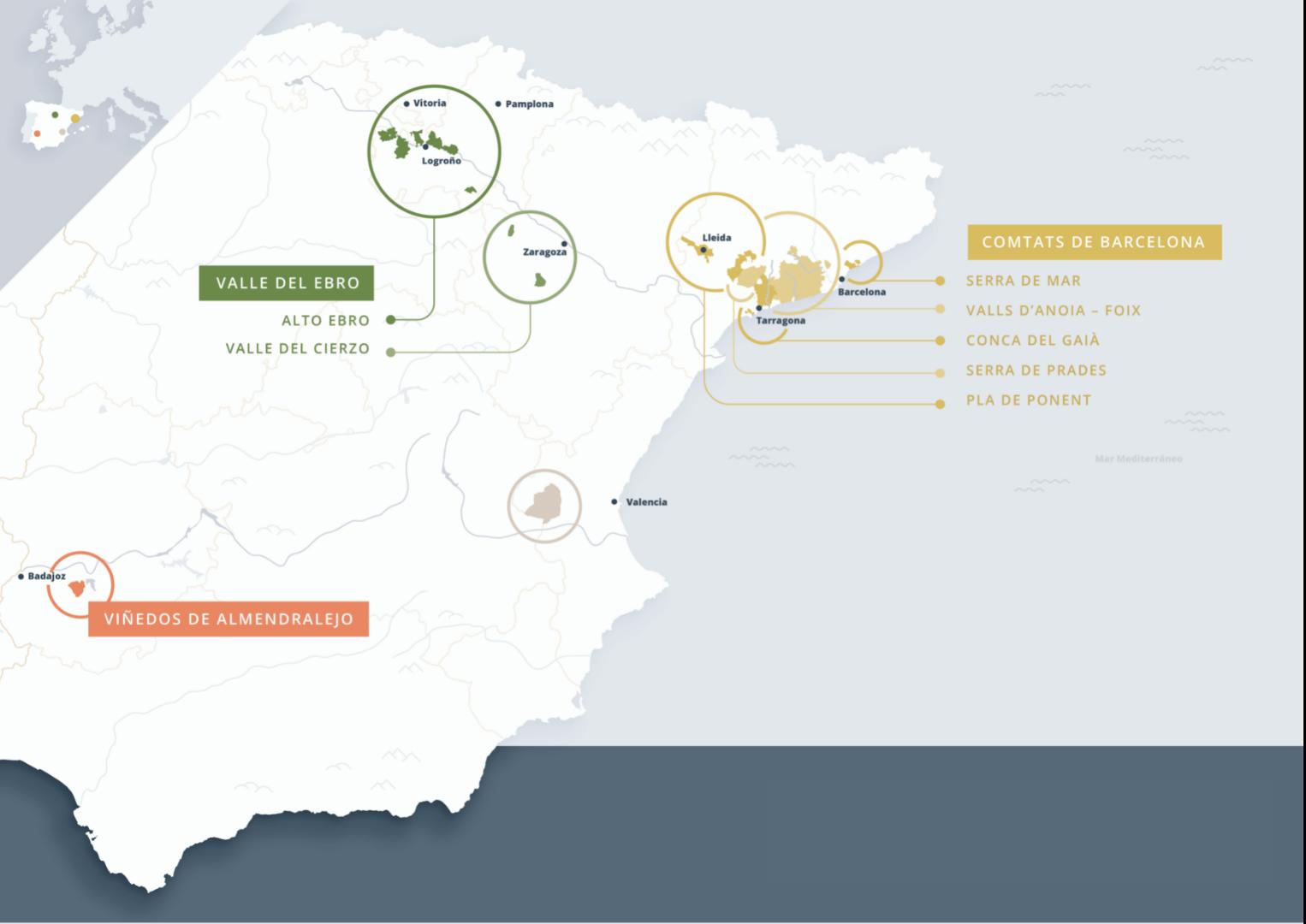 Mapa de les zones del Cava