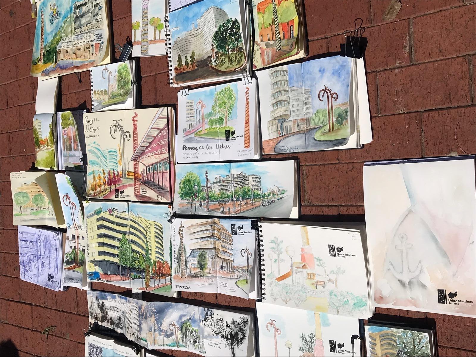 Obres realitzades en la jornada dels Urban Sketchers