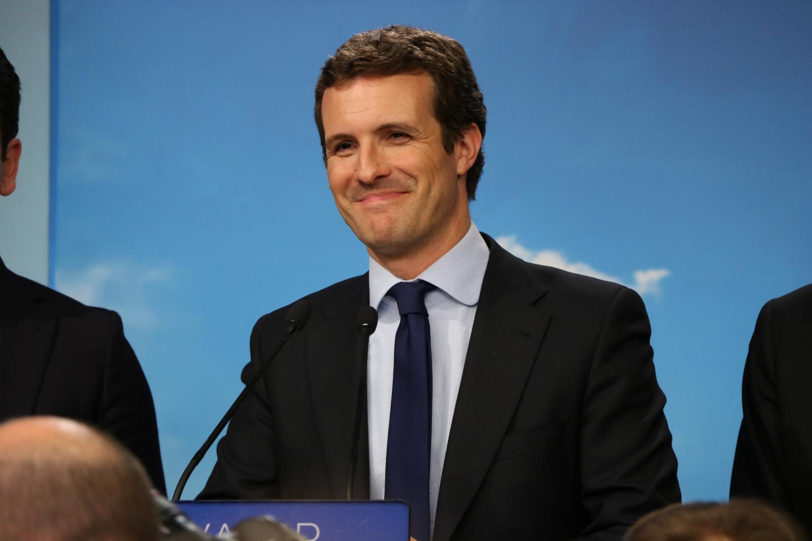 El president del PP, Pablo Casado, a la roda de premsa per valorar els resultats electorals de les espanyoles