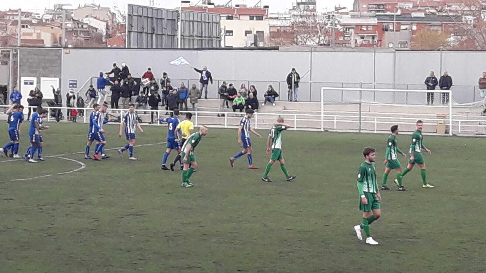 Els jugadors del CP San Cristóbal celebren el gol de Mario Domingo