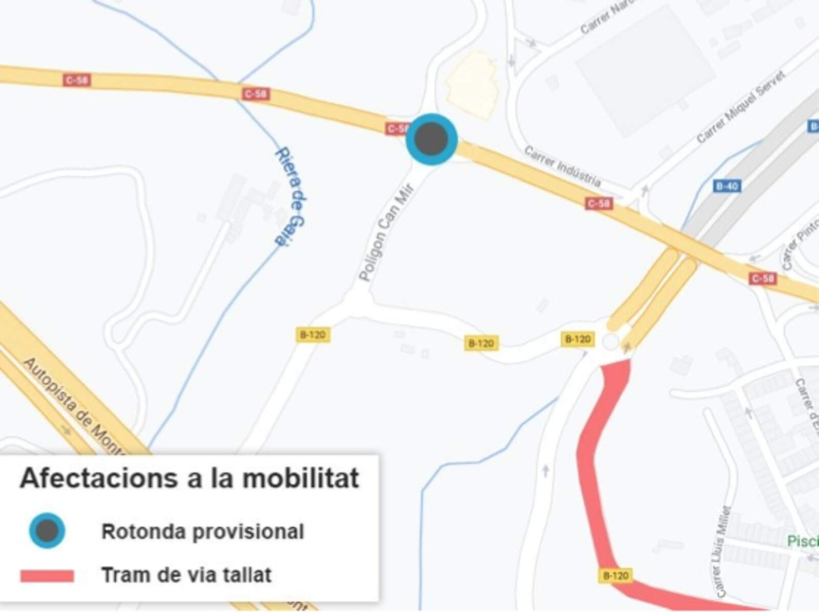 Mapa amb les afectacions