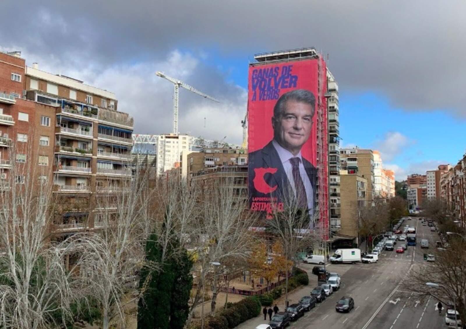 La pancarta de Joan Laporta a Madrid
