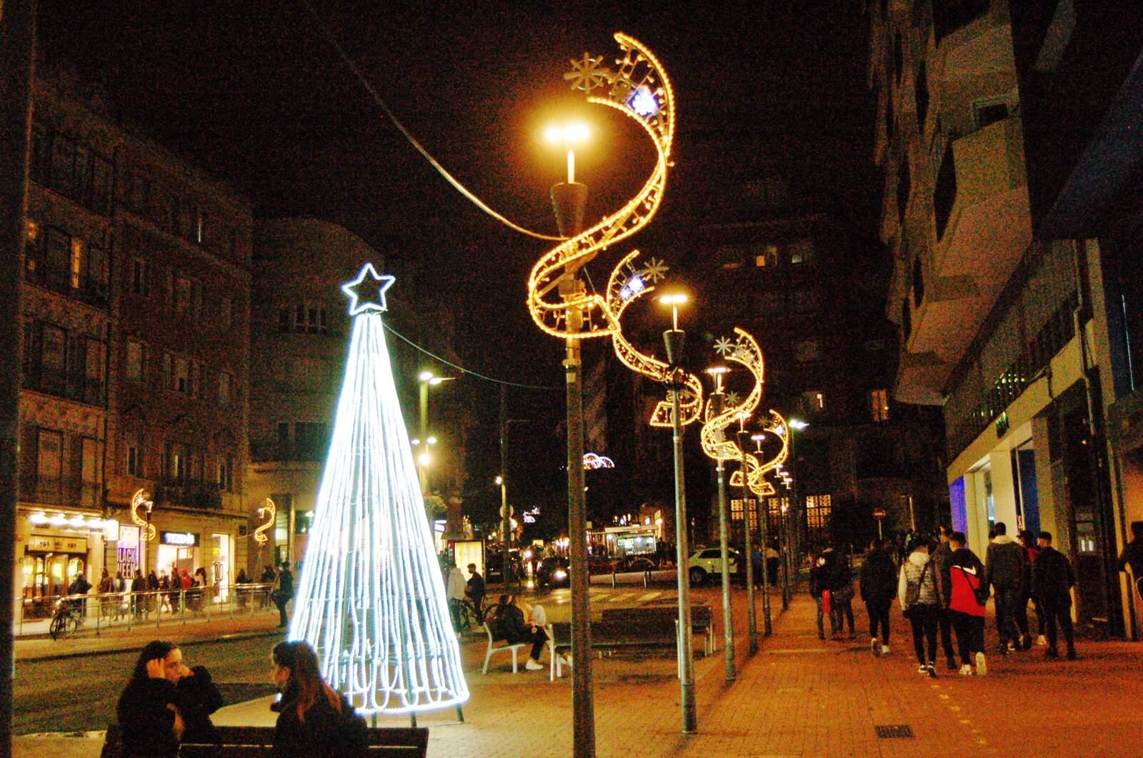 Terrassa sota les llums de Nadal