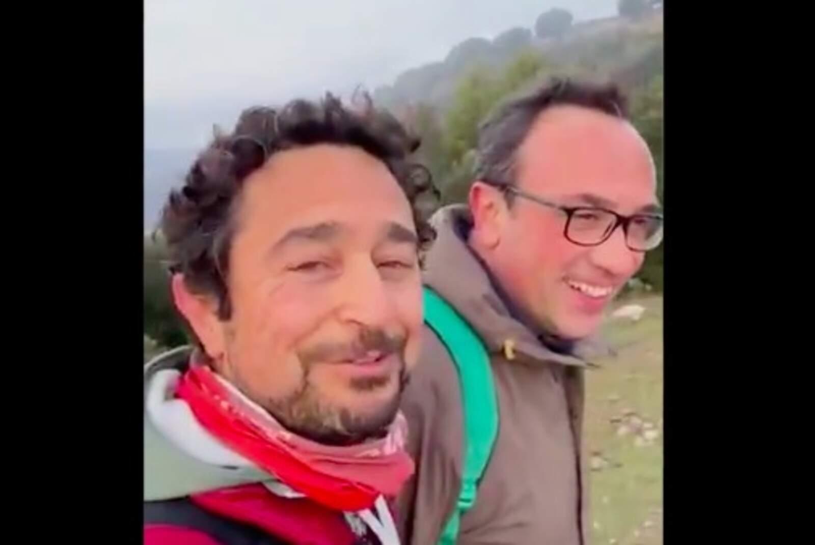 Damià Calvet i Josep Rull, d'excursió a La Mola