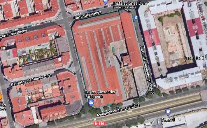 Mapa de la parcel·la de l'antiga fàbrica Auxiliar Estambrera   G.E.